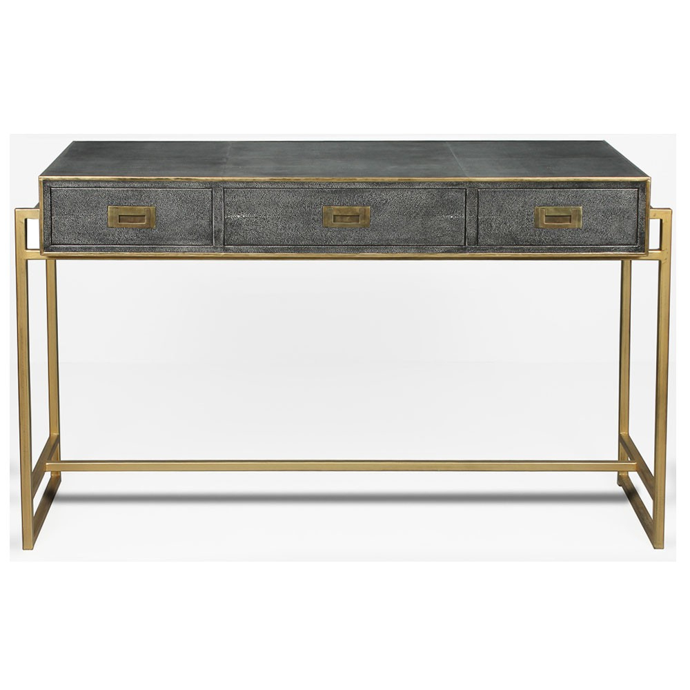 Grey Leather Shagreen Desk – Brass | Sarreid 40466 Within Grey Shagreen Media Console Tables (View 5 of 20)