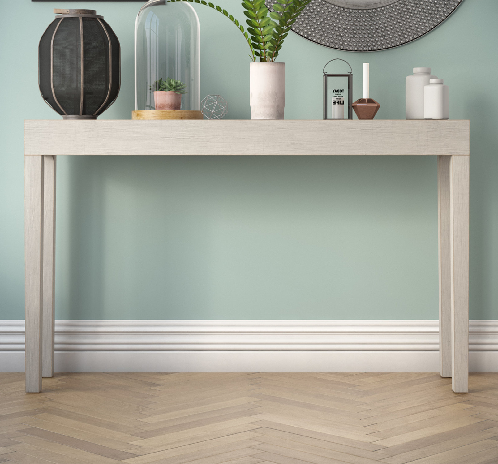 Grey Painted Console Table | Wayfair.co.uk With Regard To Natural Wood Mirrored Media Console Tables (Gallery 14 of 20)