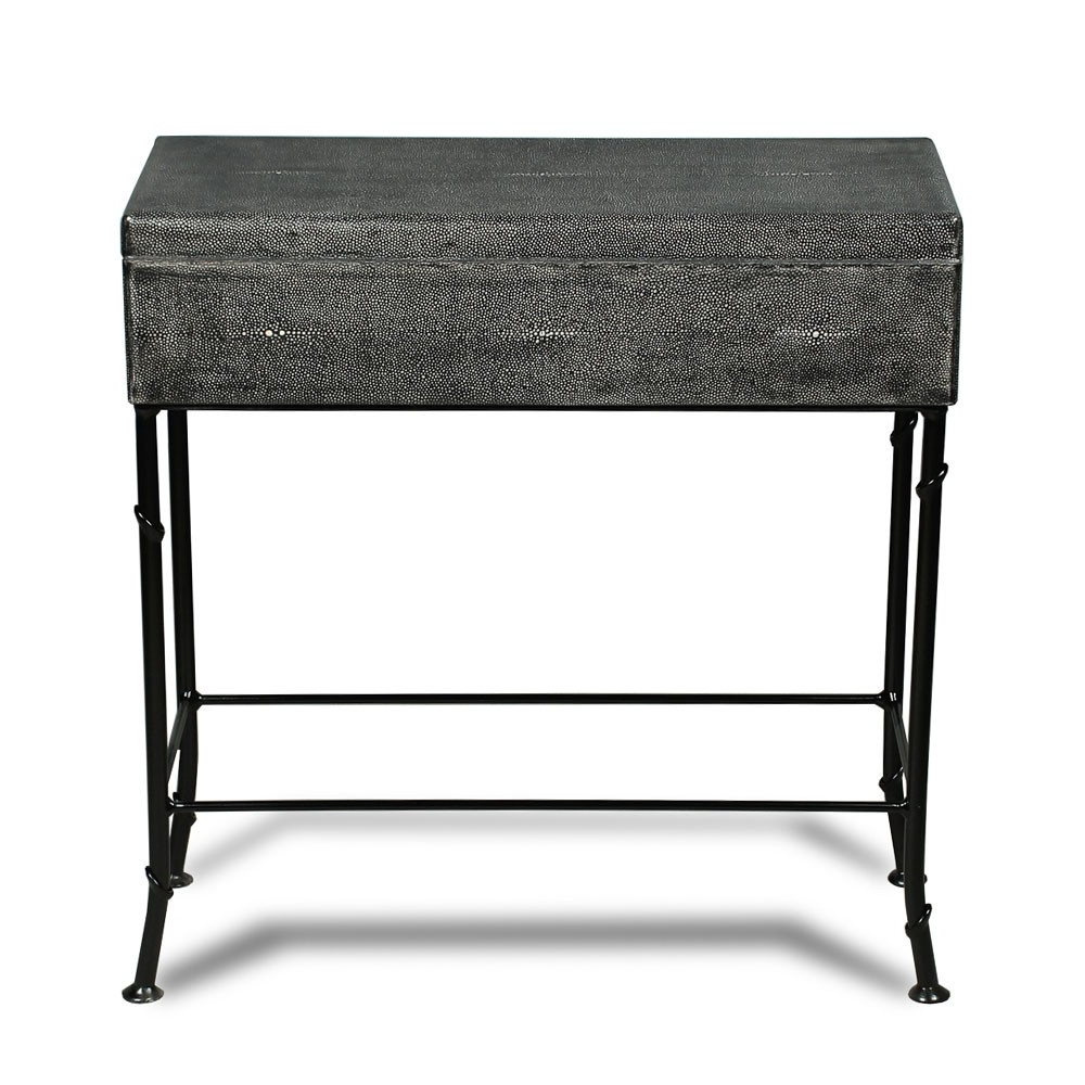 Grey Shagreen Box On Stand – Iron – Leather | Sarreid 40470 Regarding Grey Shagreen Media Console Tables (View 3 of 20)