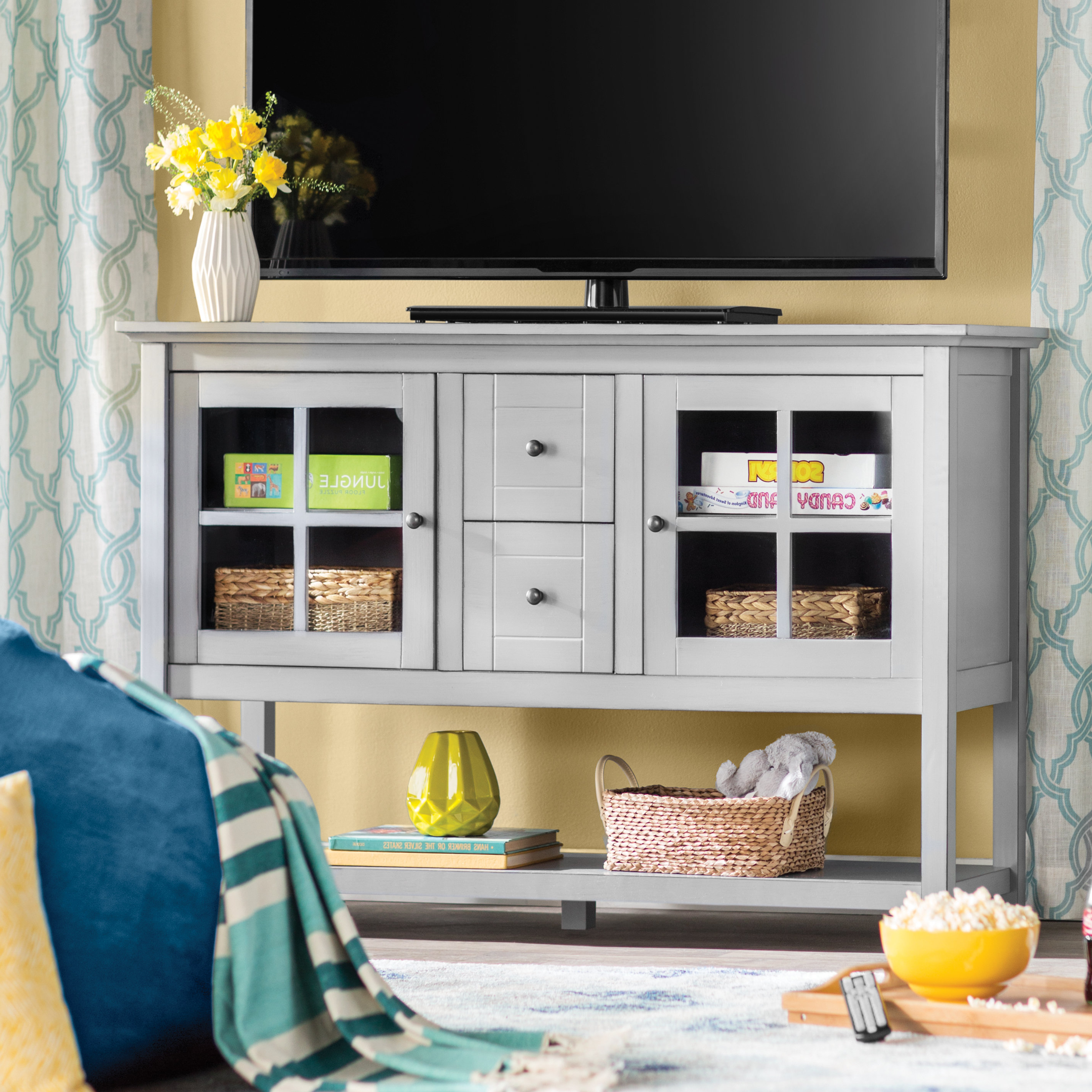 Grey Tv Stands | Birch Lane Throughout Sinclair Grey 54 Inch Tv Stands (Gallery 14 of 20)