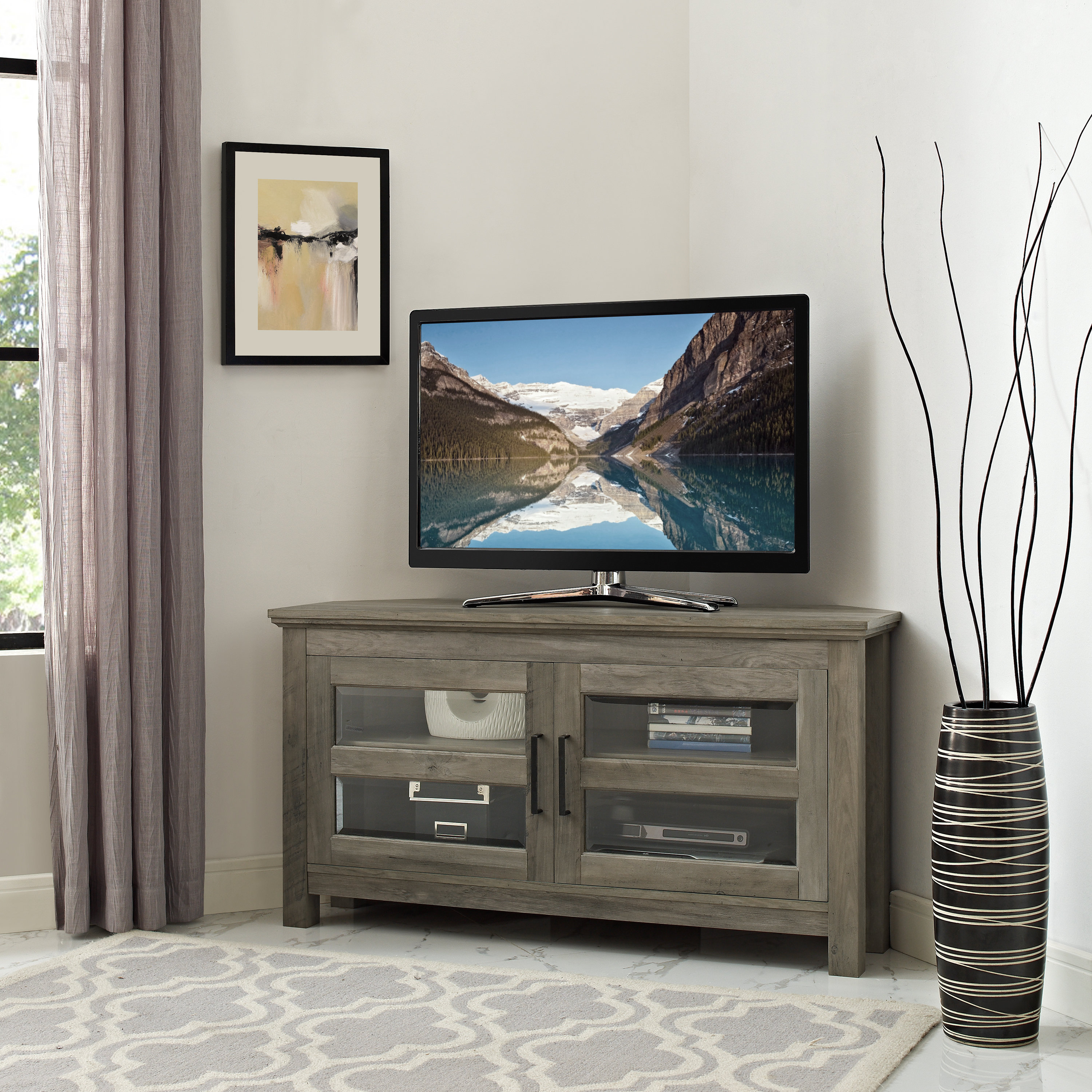 Grey Tv Stands | Birch Lane Throughout Sinclair Grey 54 Inch Tv Stands (Gallery 13 of 20)