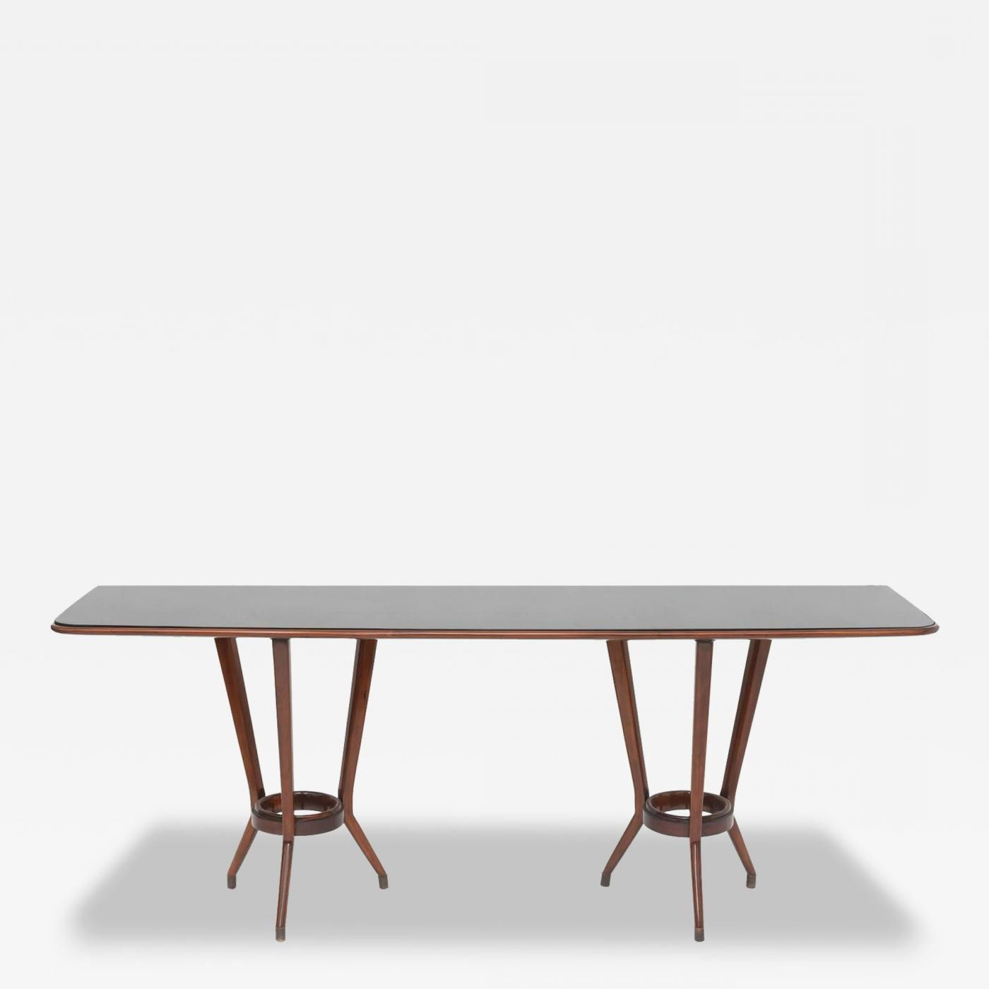 Guglielmo Ulrich; Mahogany, Brass And Black Glass Console Table With Phillip Brass Console Tables (View 5 of 20)
