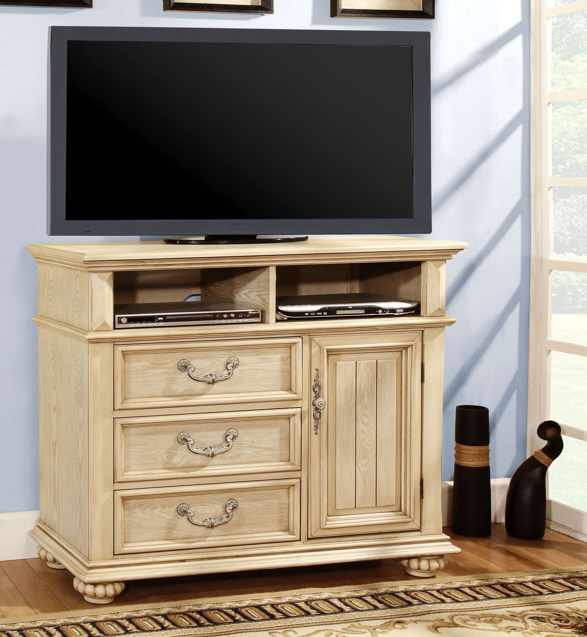 "Hagen Traditional 45"" Tv Console, Antique White 
