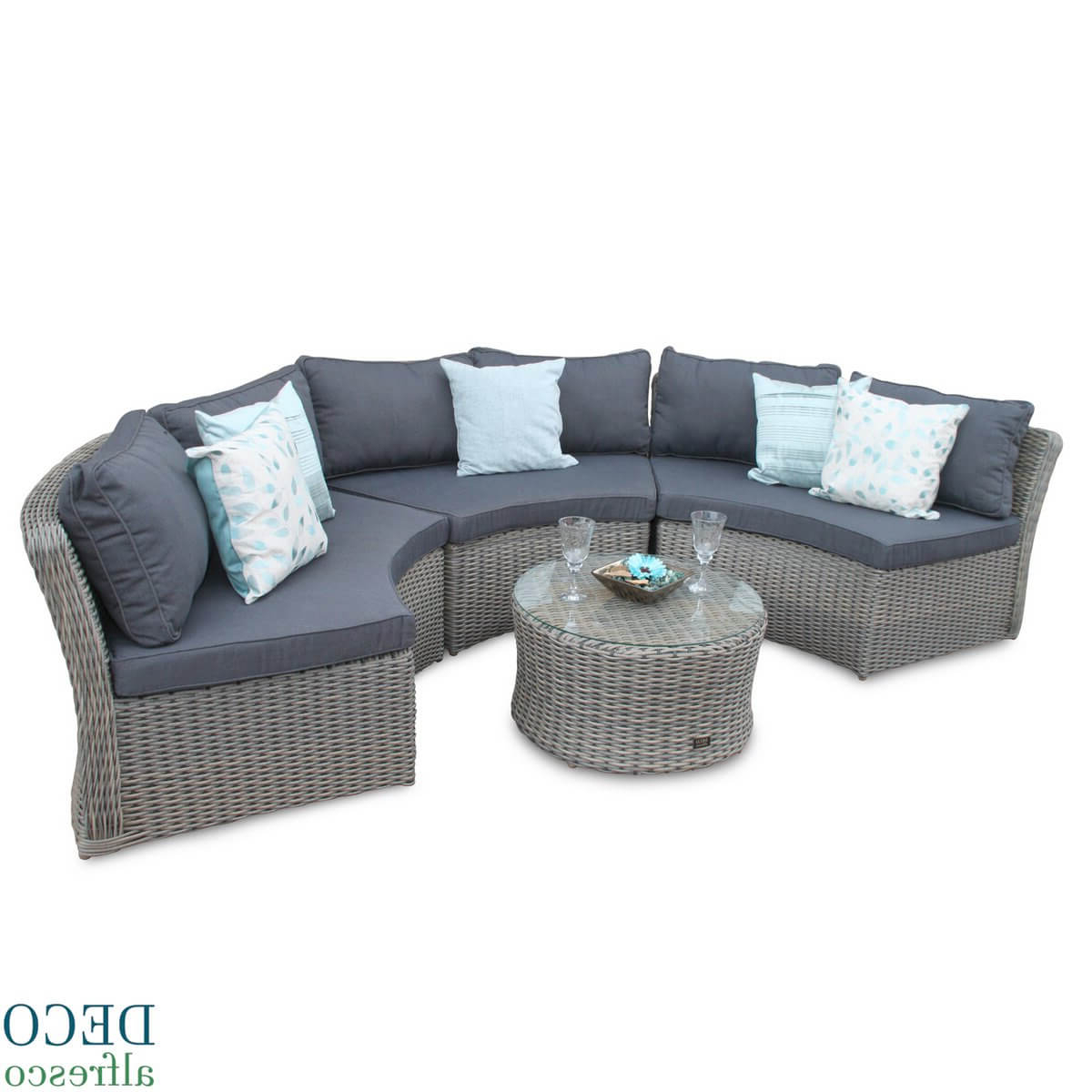 Half Moon Round Rattan Outdoor Furniture Sofa Natural Deco Alfresco Pertaining To Natural Cane Media Console Tables (View 10 of 20)