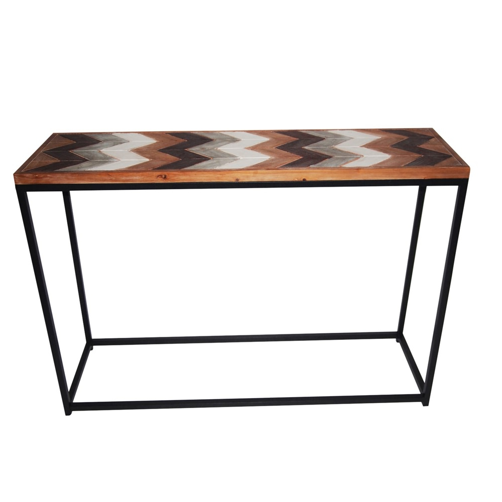 Hall Console Table Hallway Side Display Wooden Metal Frame Chevron With Frame Console Tables (View 13 of 20)