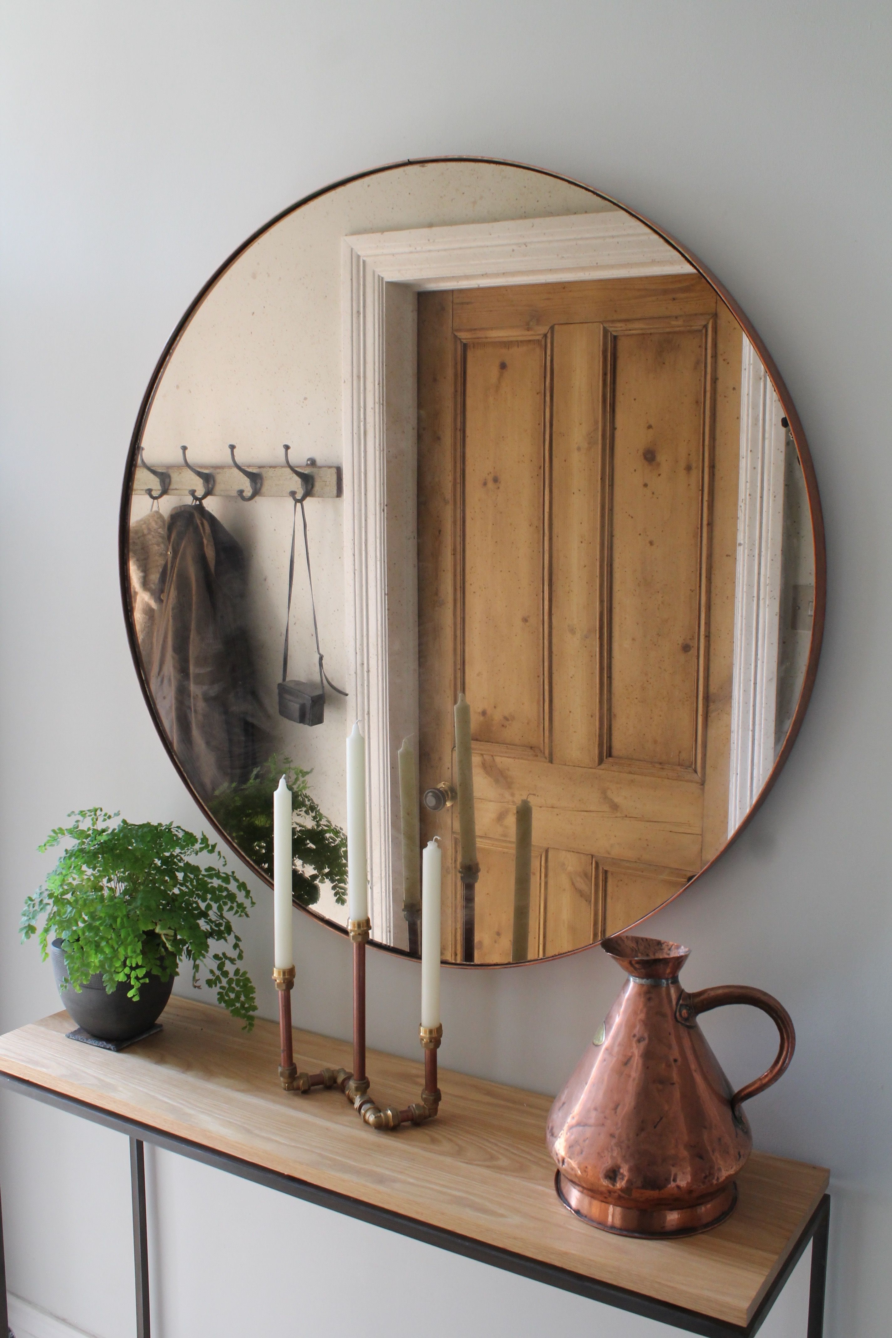 Hallway Furniture, Copper Mirror Over Steel And Oak Console Table Intended For Natural Wood Mirrored Media Console Tables (View 19 of 20)