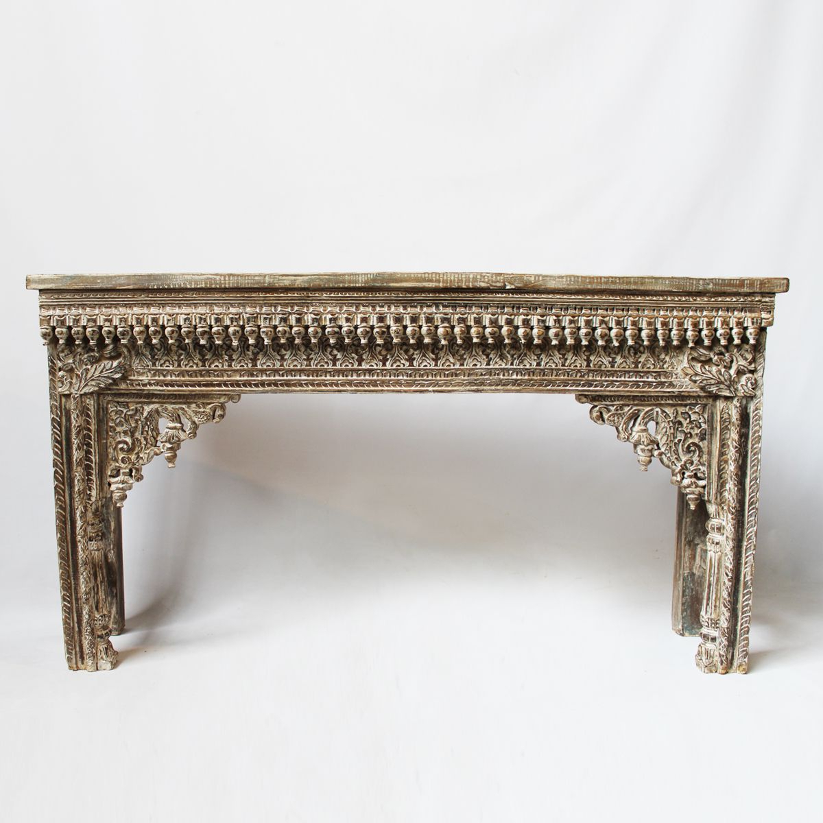 Hand Carved Teak Console Table Made From An Original Rajasthan Door In Hand Carved White Wash Console Tables (View 3 of 20)