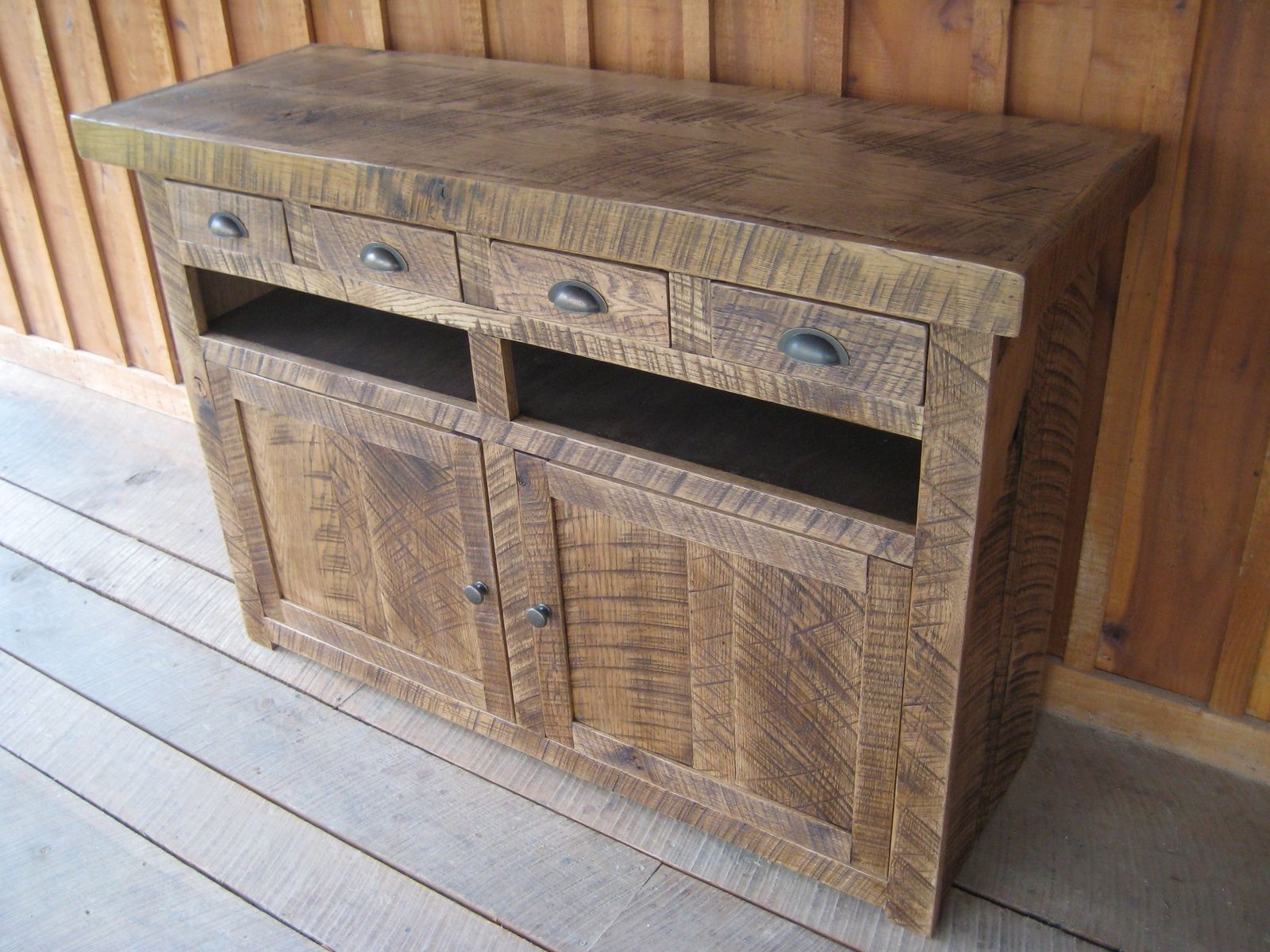 Hand Made Oak Tv Consolesunique Custom Furniture, Ltd Within Oak & Brass Stacking Media Console Tables (View 9 of 20)