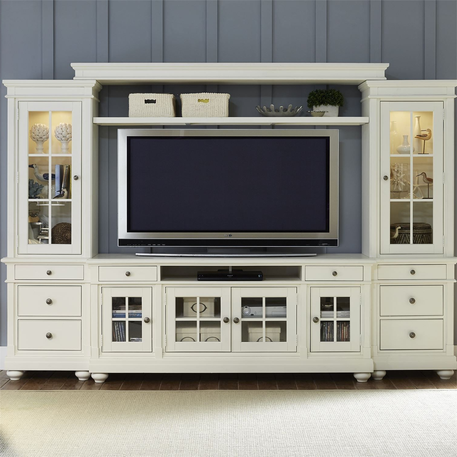 "Harbor View Linen Entertainment Wall Unit With 62"" Tv Console From Inside Abbott Driftwood 60 Inch Tv Stands (View 11 of 20)"