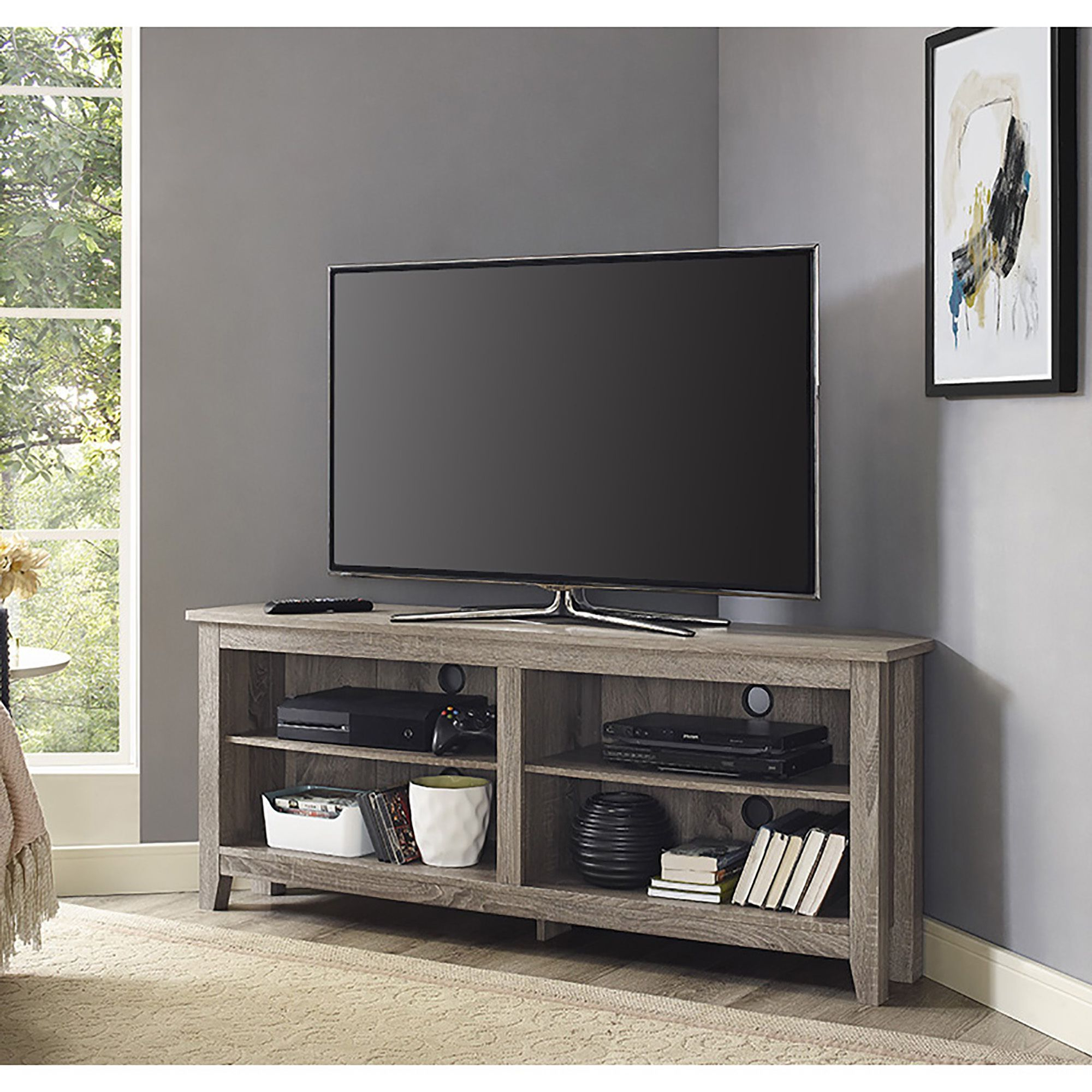 Havenside Home Jacksonville 58 Inch Driftwood (brown) Corner Tv Regarding Casey Grey 74 Inch Tv Stands (View 3 of 20)