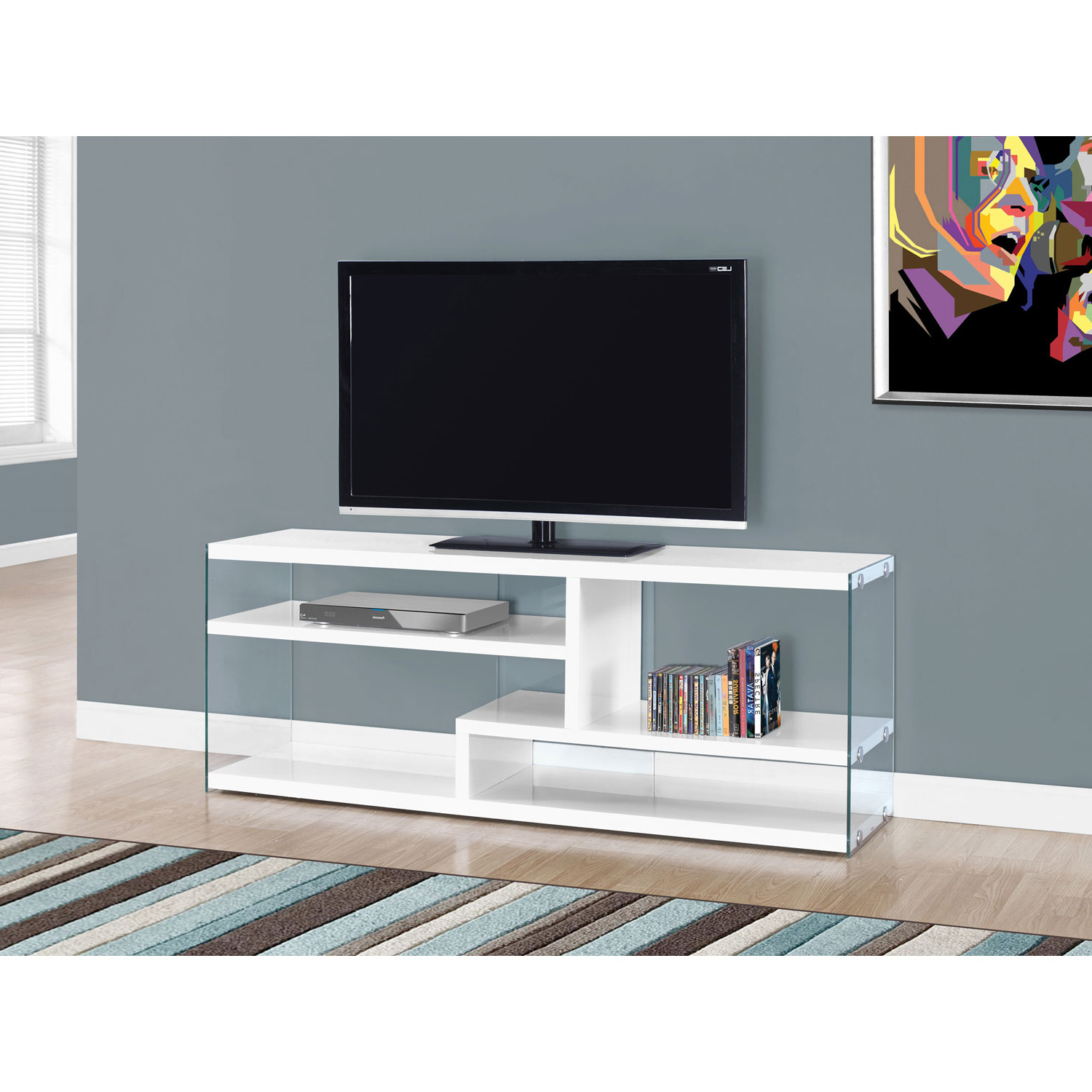 Hawthorne Ave Tv Stand 60l / Glossy White With Tempered Glass I 2690 Throughout Noah 75 Inch Tv Stands (View 7 of 20)