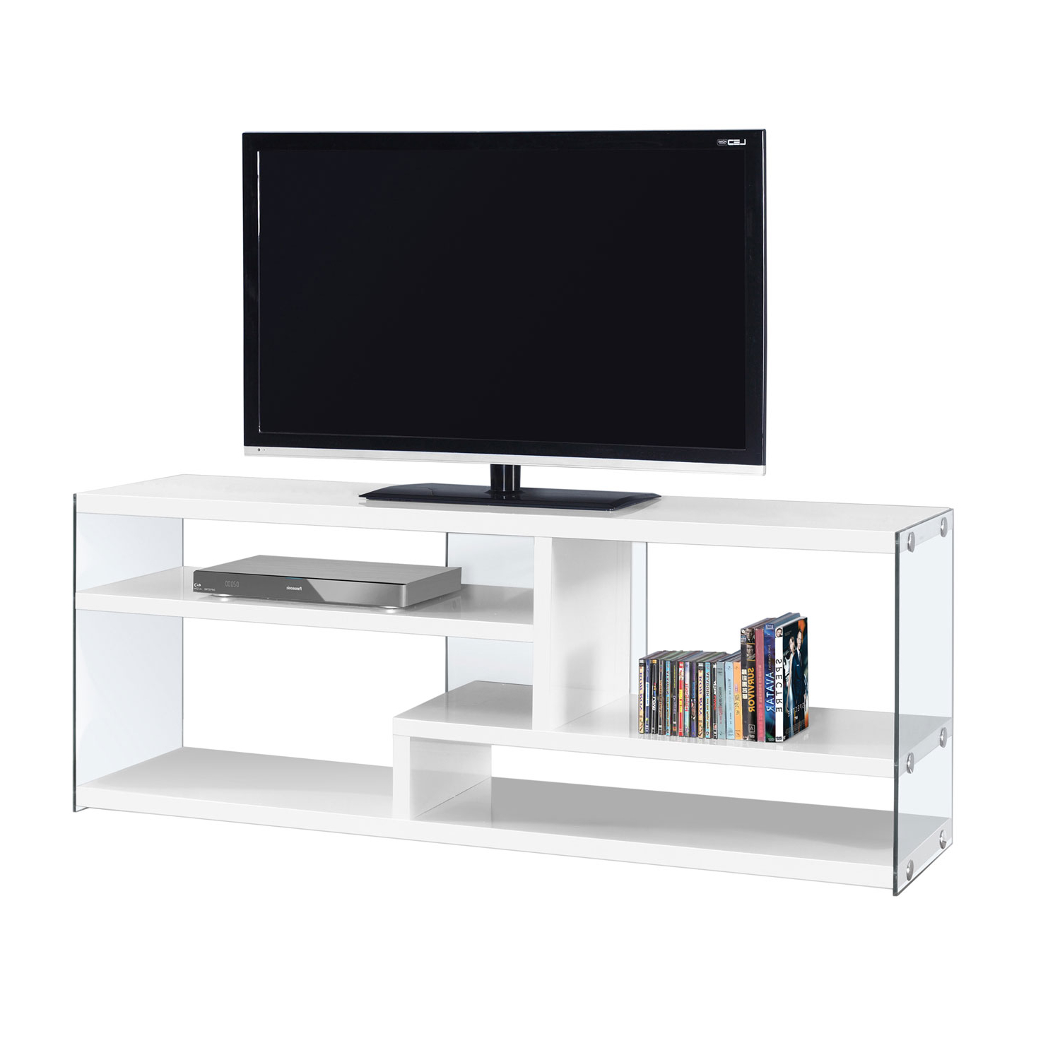 Hawthorne Ave Tv Stand 60L / Glossy White With Tempered Glass I 2690 With Noah 75 Inch Tv Stands (Gallery 8 of 20)