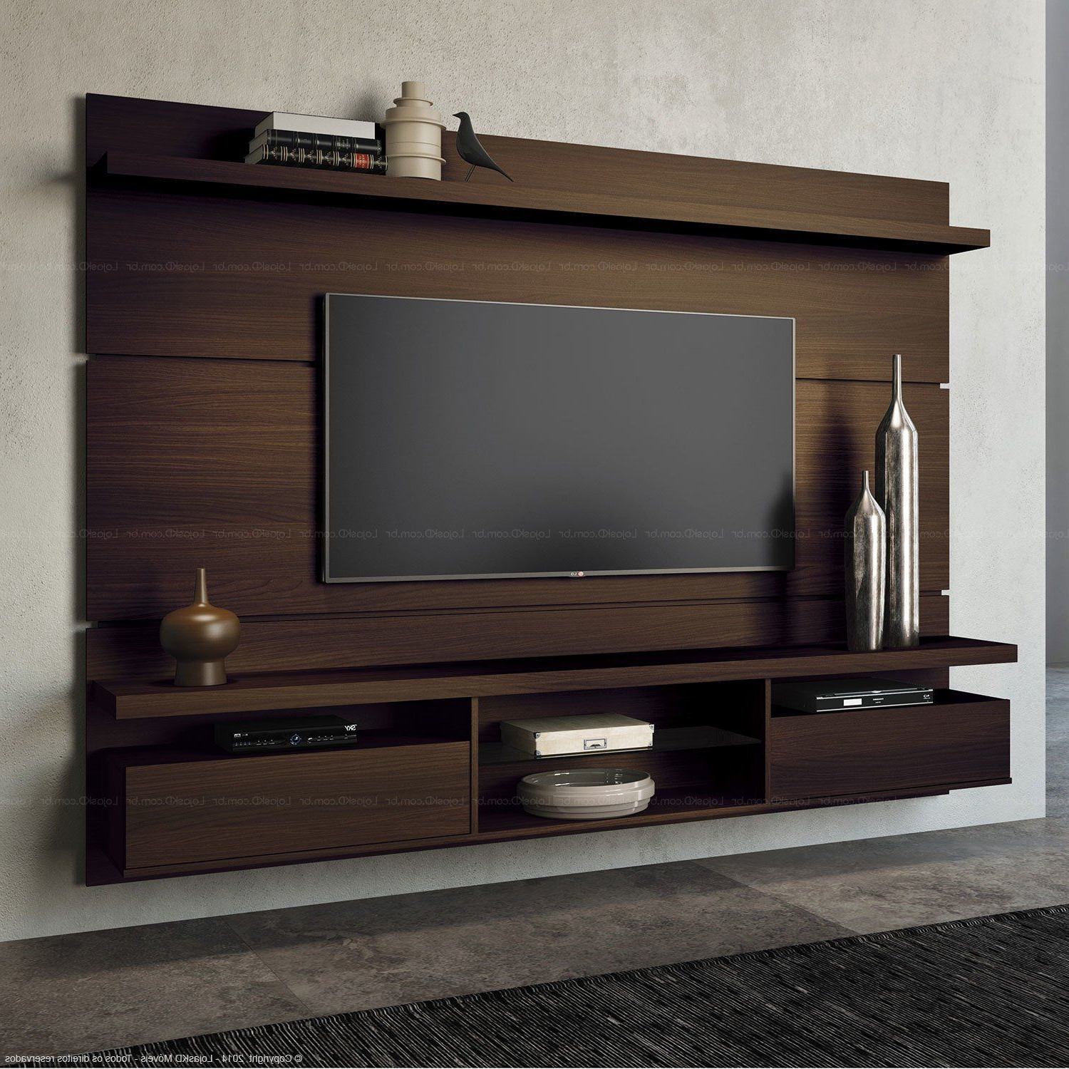 Home Suspenso Para Tv Até 60 Polegadas Livin 165 X 220 X 35 With Kilian Black 60 Inch Tv Stands (View 7 of 20)