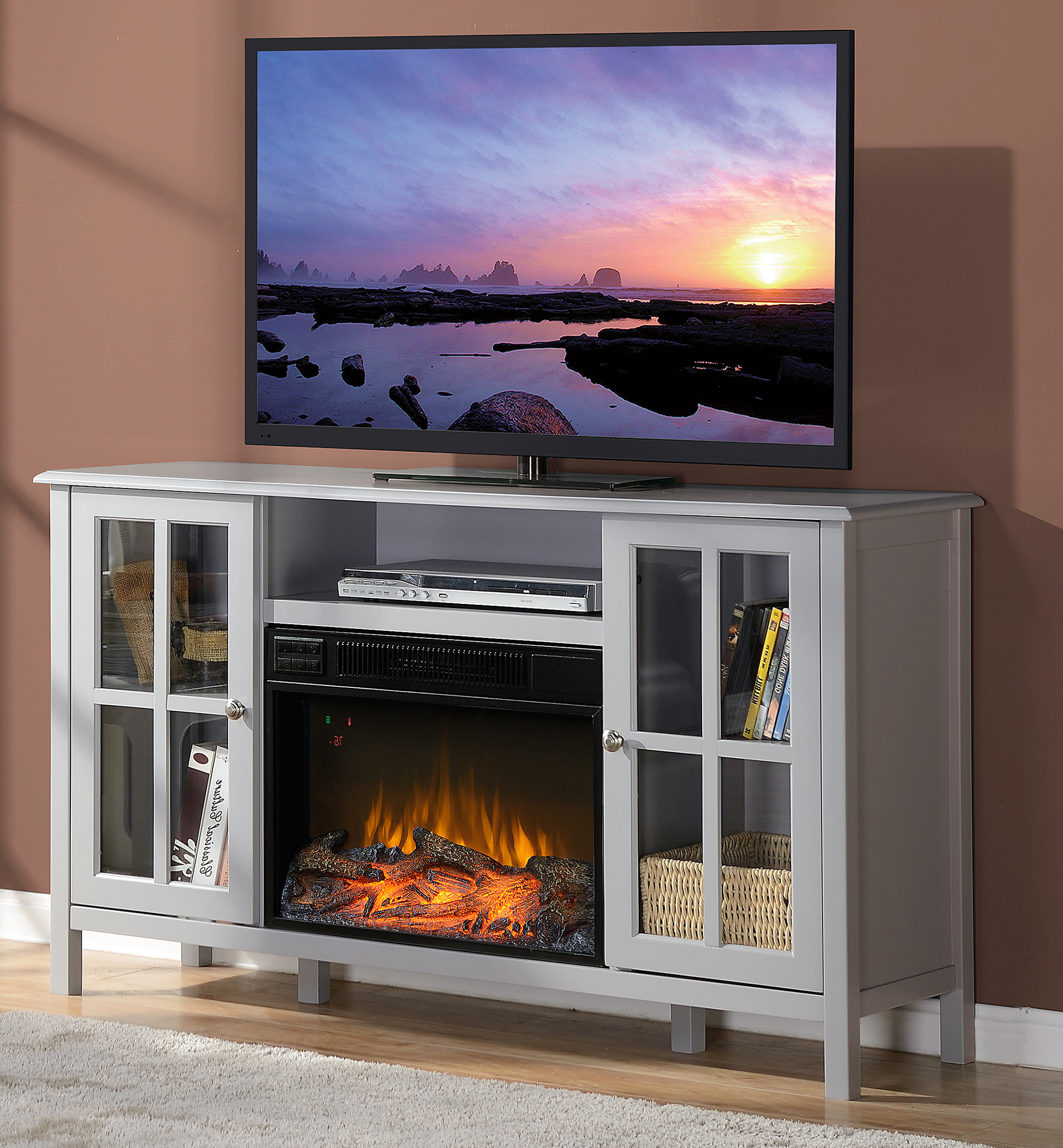 "Homestar Langley Tv Stand For Tvs Up To 60"" With Fireplace & Reviews Pertaining To Caden 63 Inch Tv Stands (Gallery 16 of 20)"