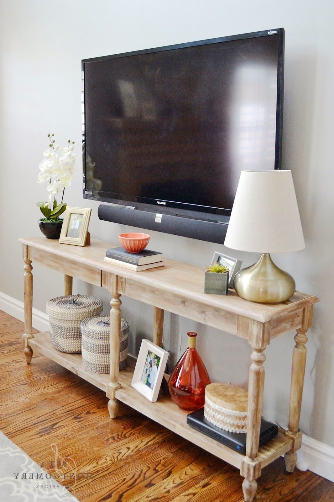 I Like The Use Of This Console Table As The Tv Stand | My Throughout Walters Media Console Tables (View 10 of 20)