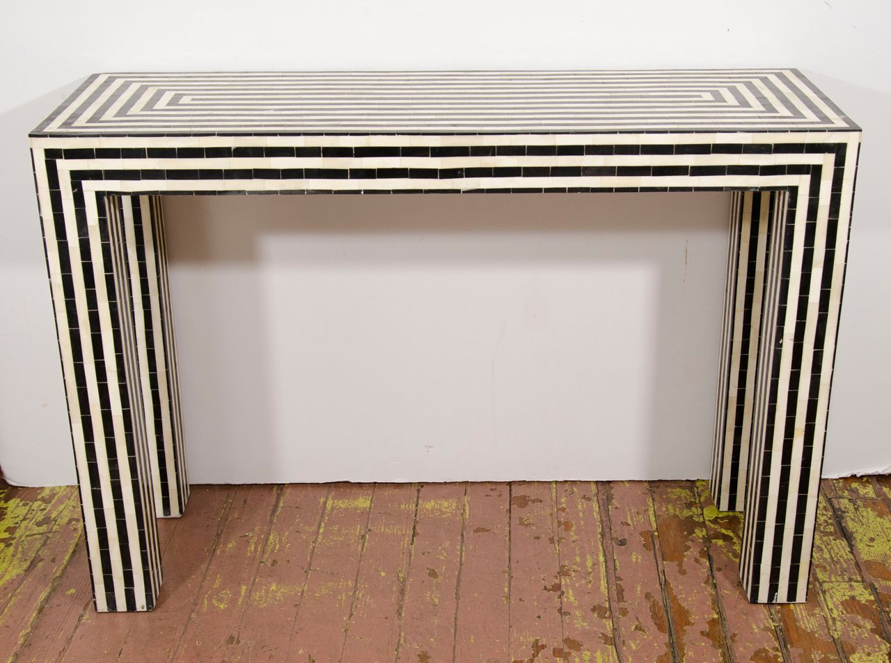 Indian Bone Inlay Black & White Striped Console | Furnishings Throughout Black And White Inlay Console Tables (View 12 of 20)