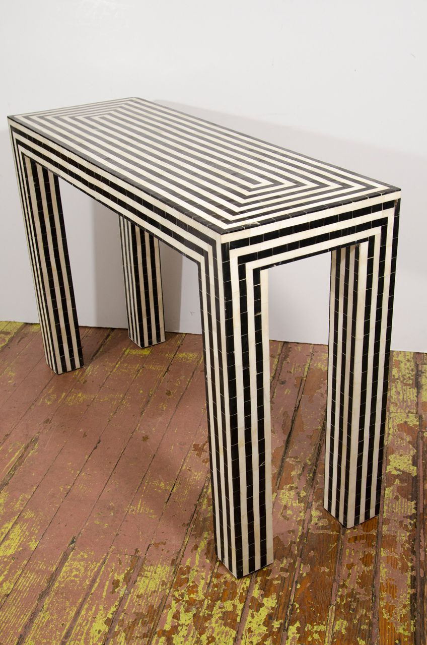 Indian Bone Inlay Black + White Striped Console | Mājoklis Inside Black And White Inlay Console Tables (View 13 of 20)