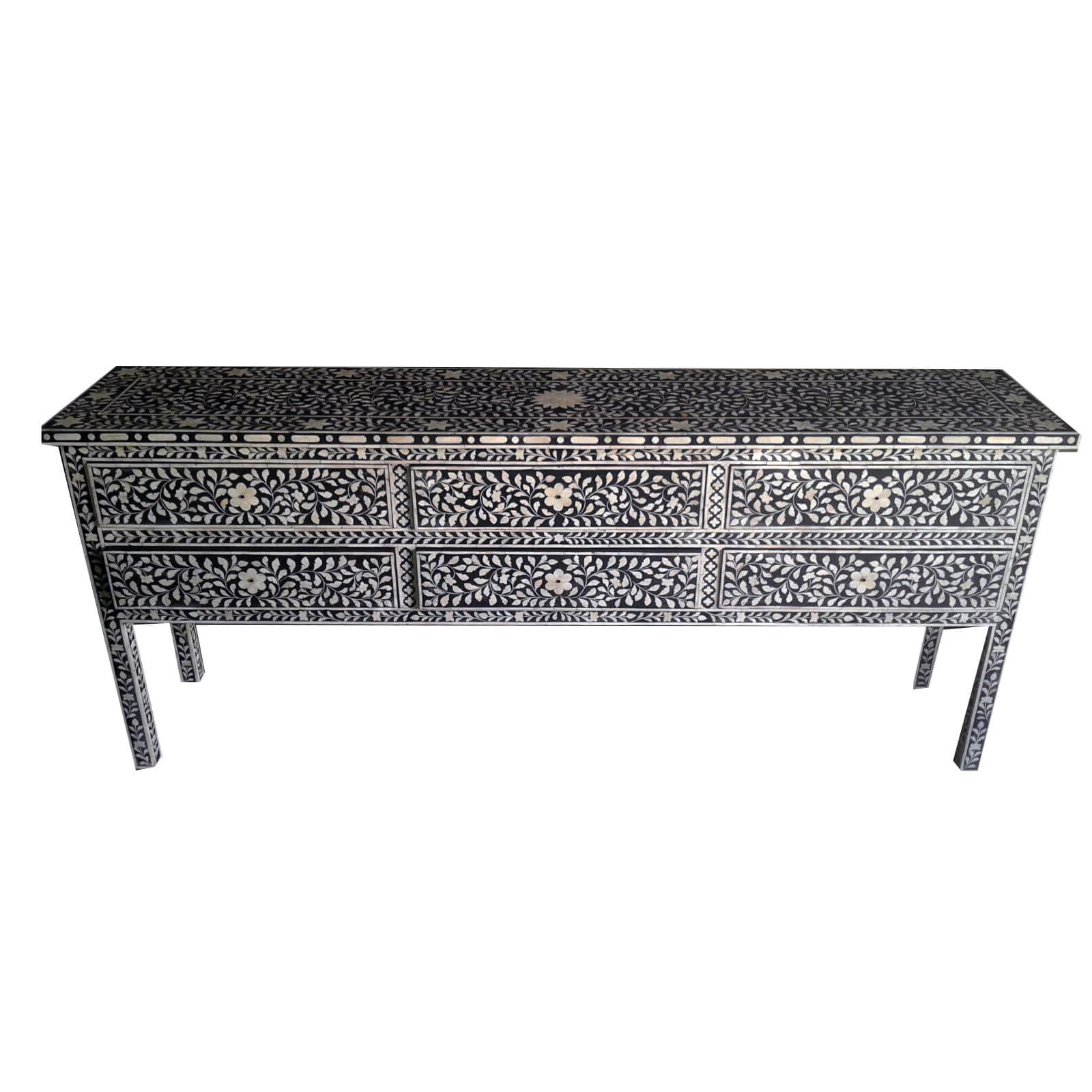 Indian Bone Inlay Furniture For Sale | Iris Furnishing Ltd Regarding Black And White Inlay Console Tables (View 15 of 20)