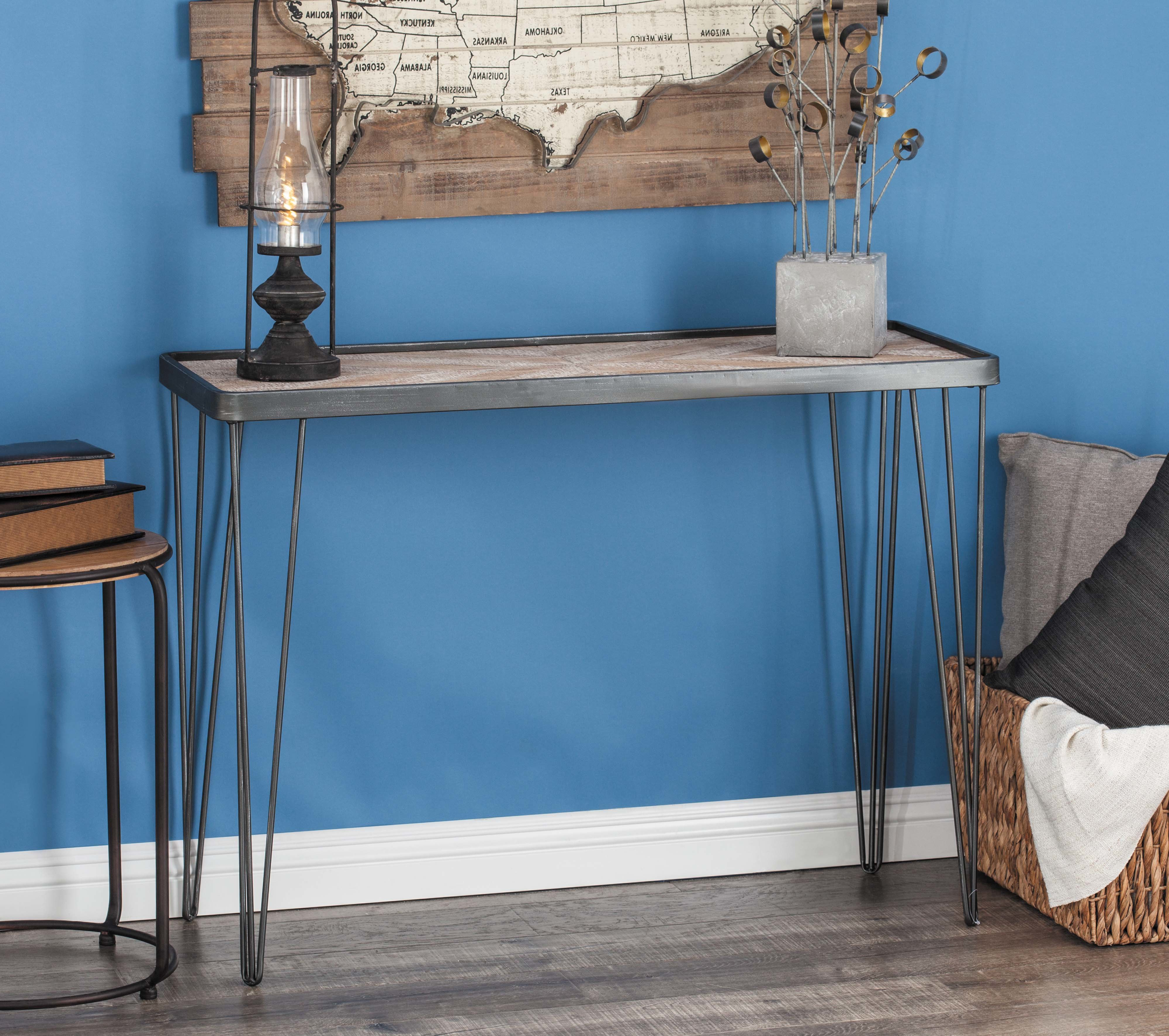 Industrial Console Tables You'll Love | Wayfair In Parsons Clear Glass Top & Dark Steel Base 48x16 Console Tables (View 20 of 20)