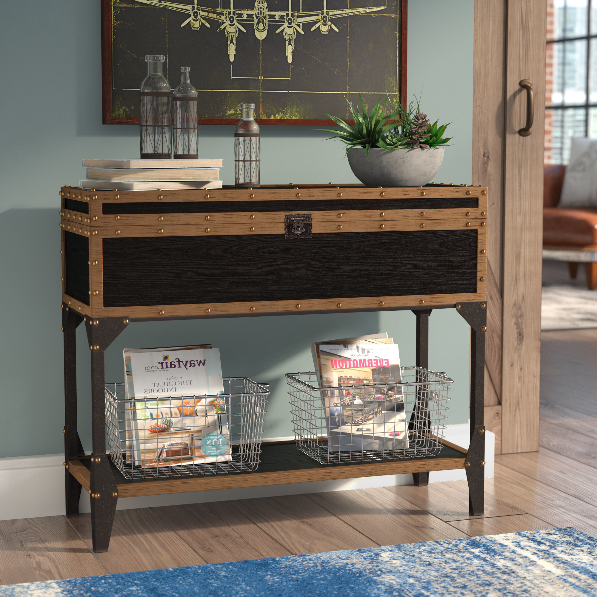 Industrial Console Tables You'll Love | Wayfair In Parsons Clear Glass Top & Elm Base 48x16 Console Tables (View 17 of 20)