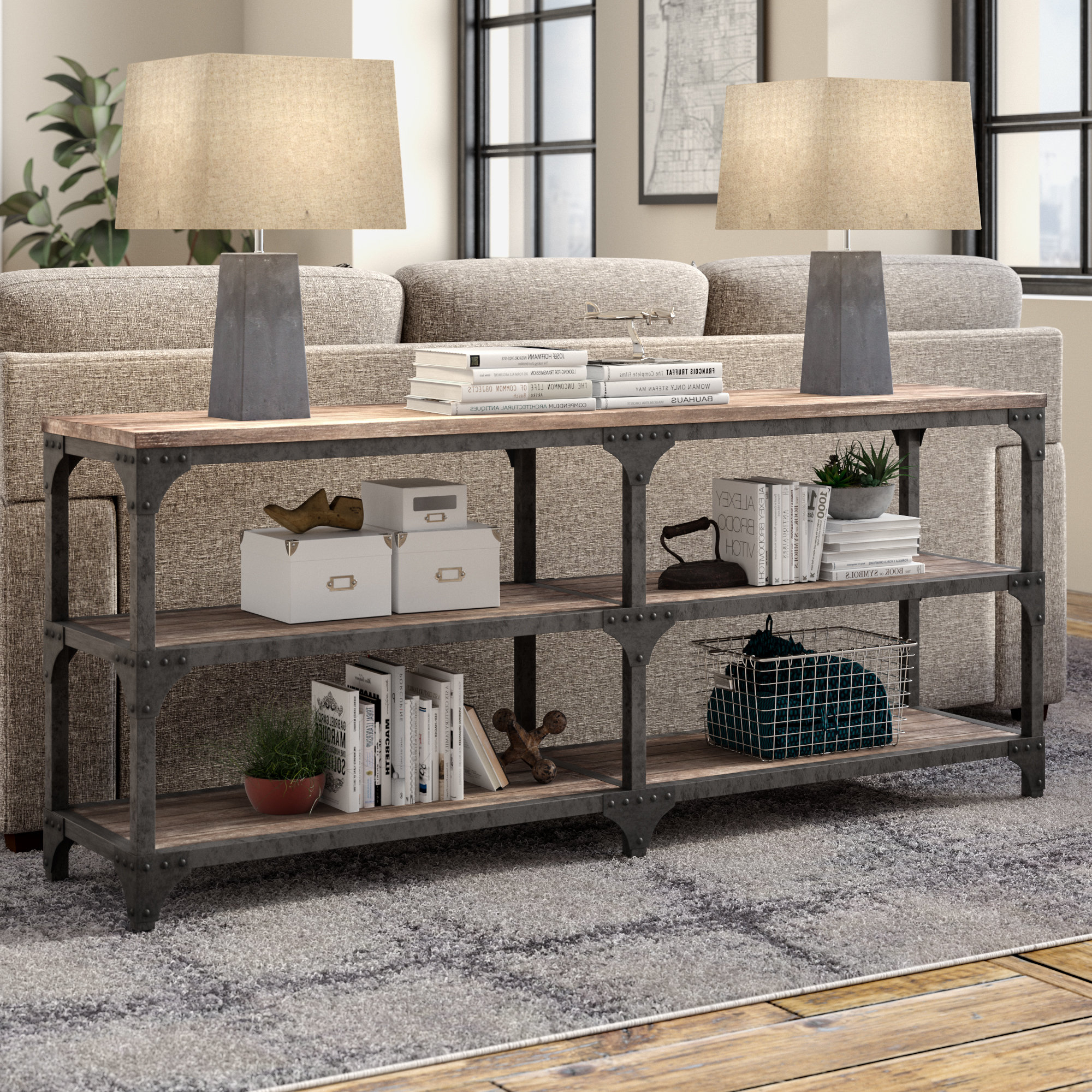 Industrial Console Tables You'll Love | Wayfair Inside Parsons Concrete Top & Dark Steel Base 48x16 Console Tables (View 12 of 20)