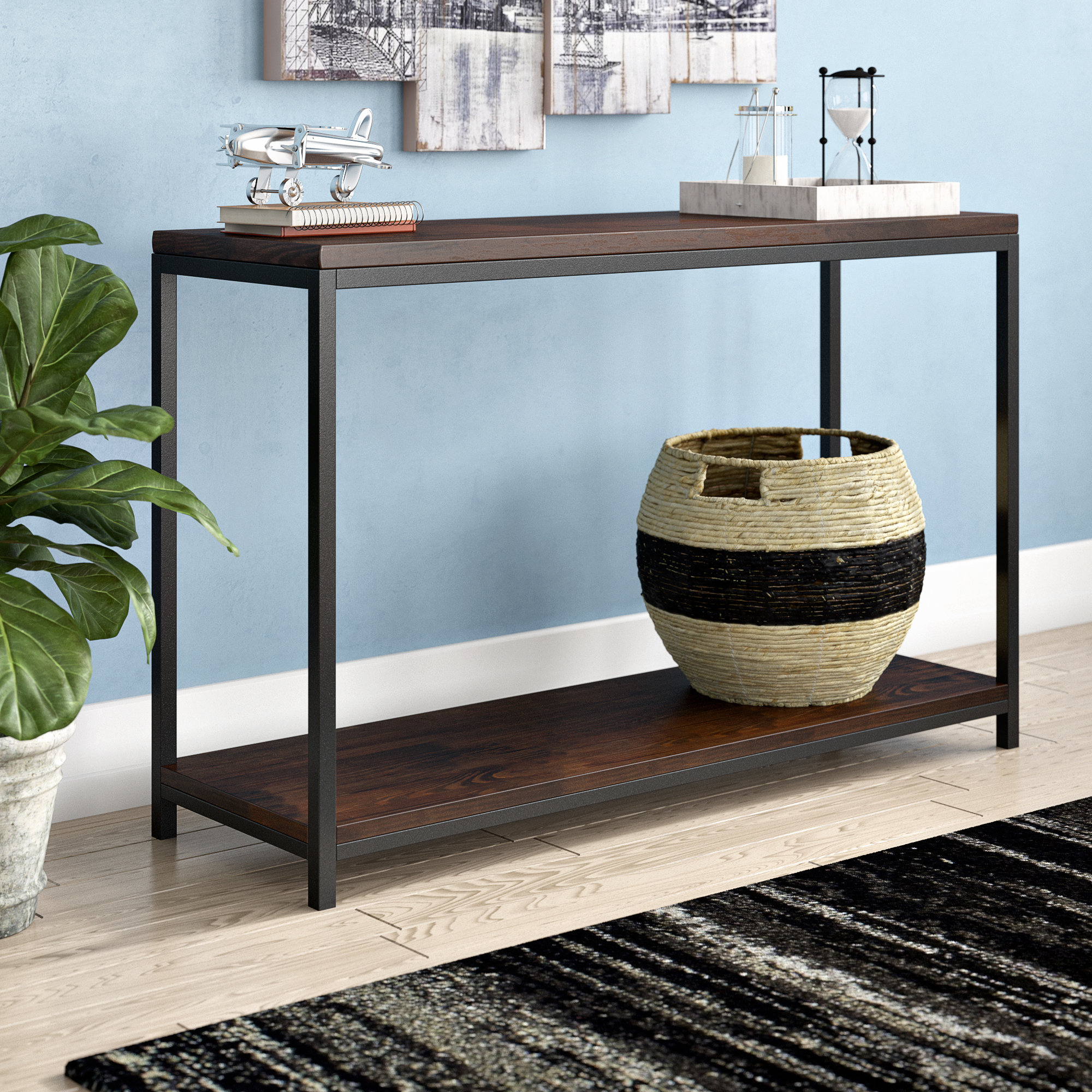 Industrial Console Tables You'll Love | Wayfair Throughout Mix Patina Metal Frame Console Tables (Gallery 12 of 20)