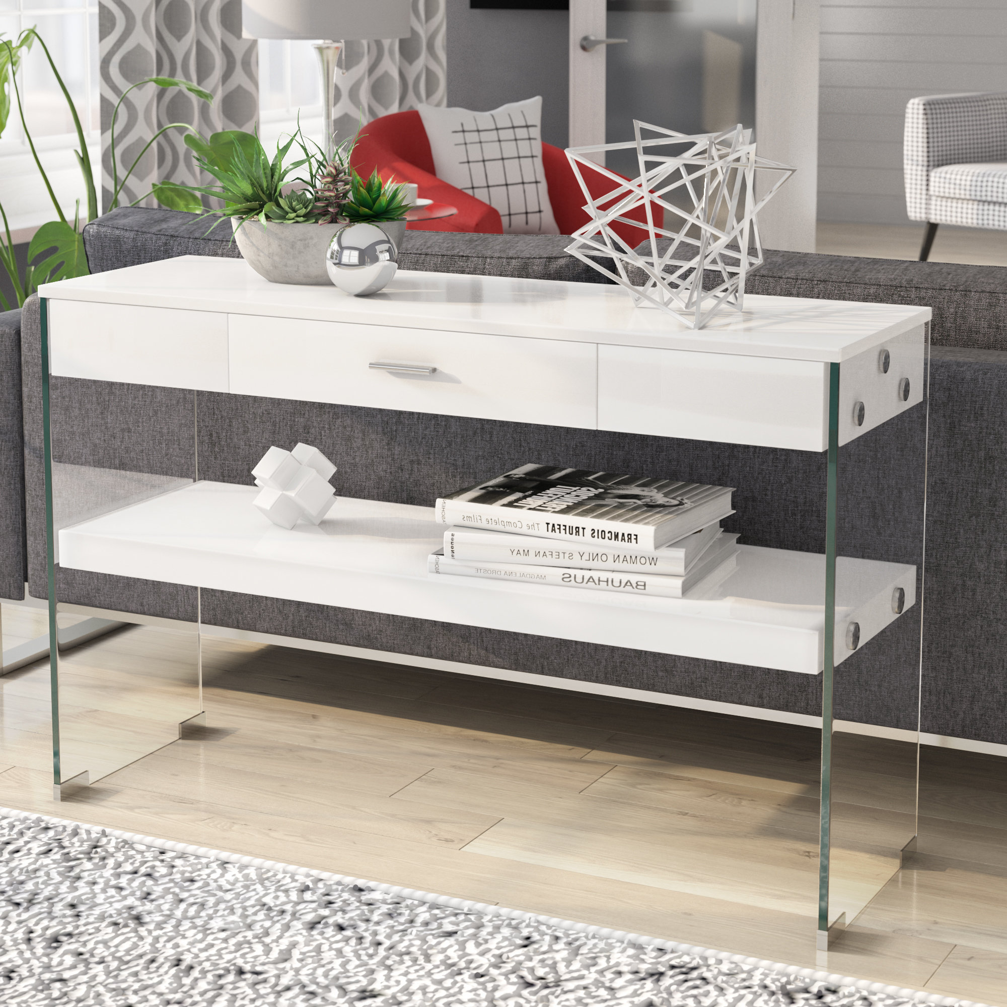 Industrial Console Tables You'll Love | Wayfair Throughout Parsons Grey Marble Top & Elm Base 48x16 Console Tables (View 13 of 20)