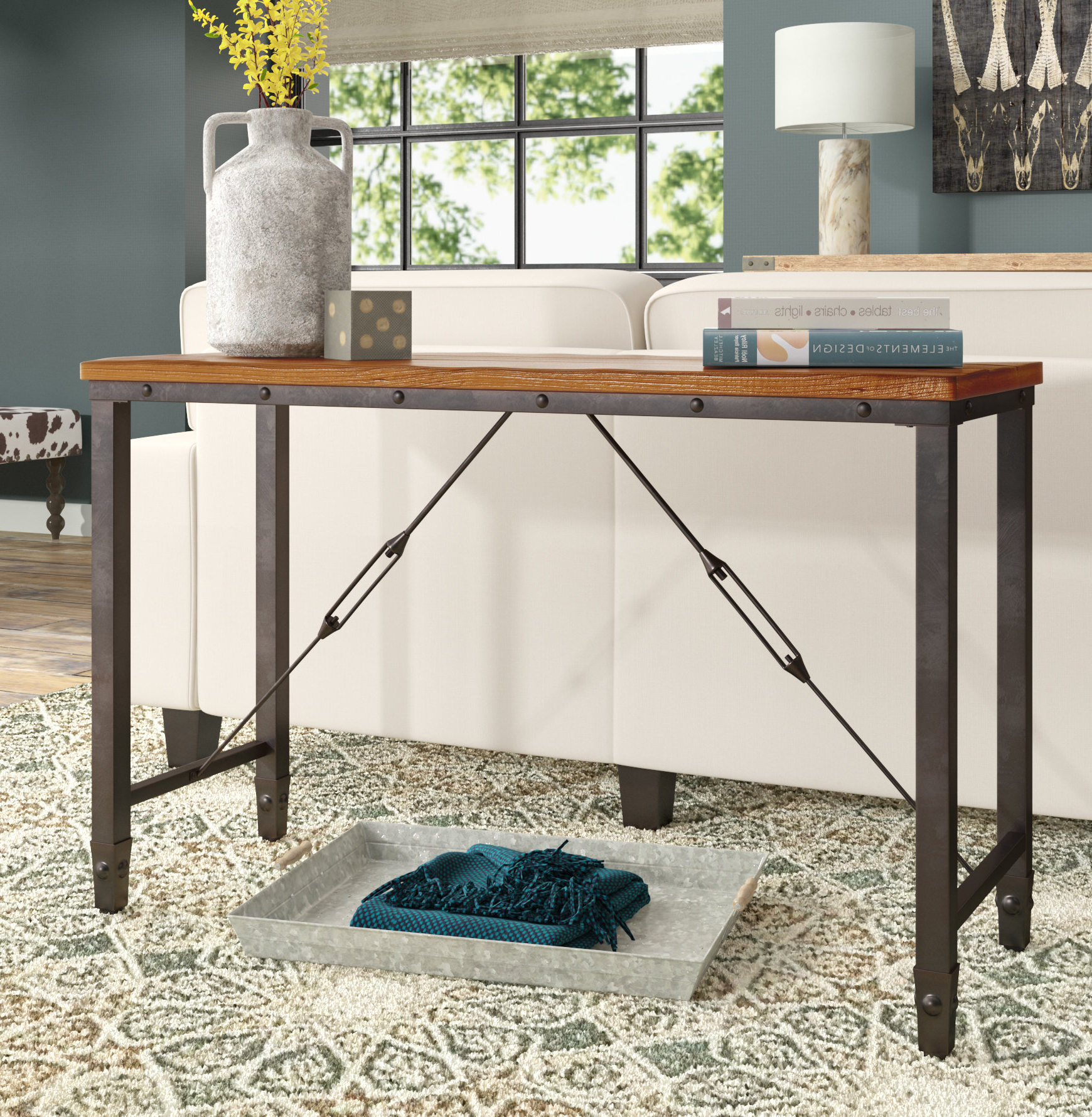 Industrial Console Tables You'll Love | Wayfair With Parsons Walnut Top & Dark Steel Base 48X16 Console Tables (Gallery 4 of 20)