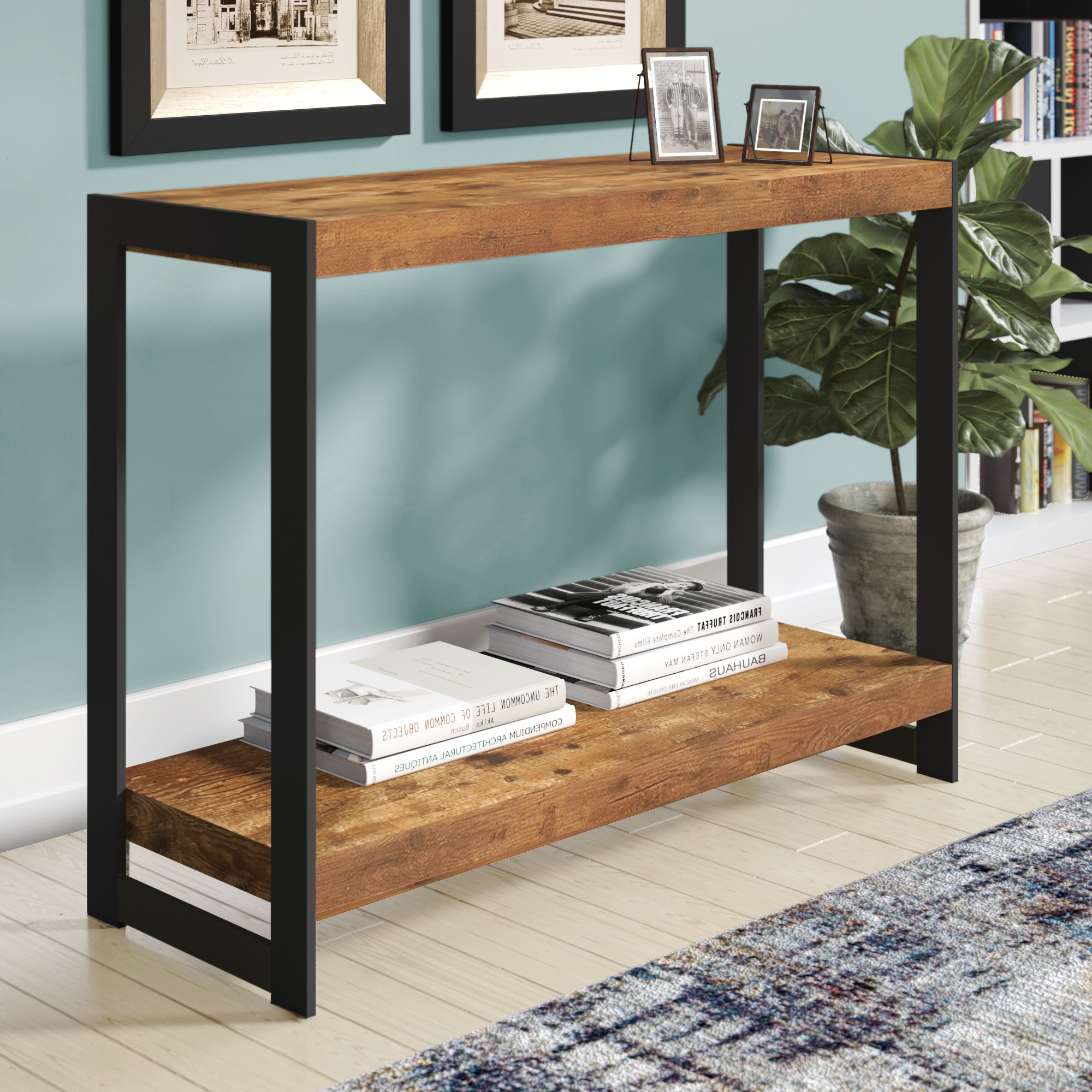Industrial Console Tables You'll Love | Wayfair With Regard To Parsons Clear Glass Top & Dark Steel Base 48x16 Console Tables (View 14 of 20)