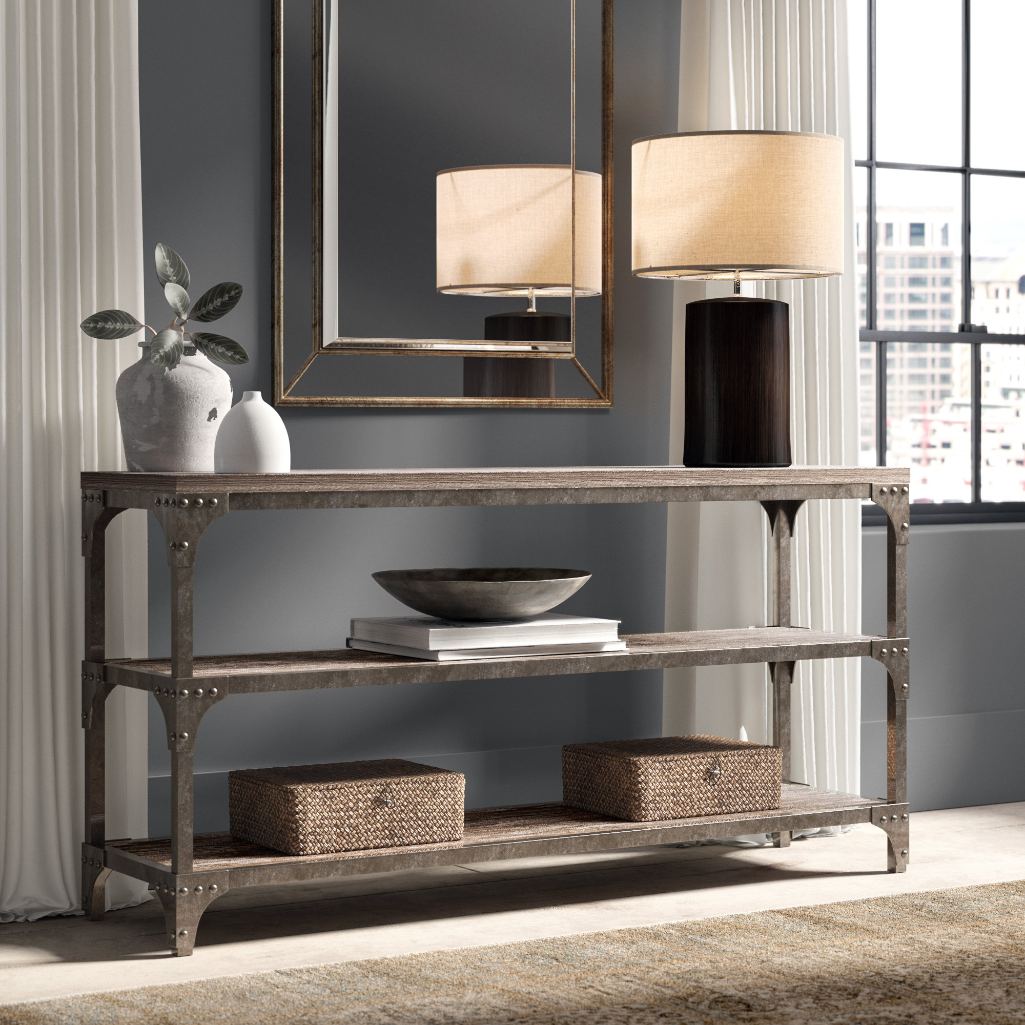 Industrial Console Tables You'll Love | Wayfair Within Parsons Clear Glass Top & Elm Base 48X16 Console Tables (View 13 of 20)