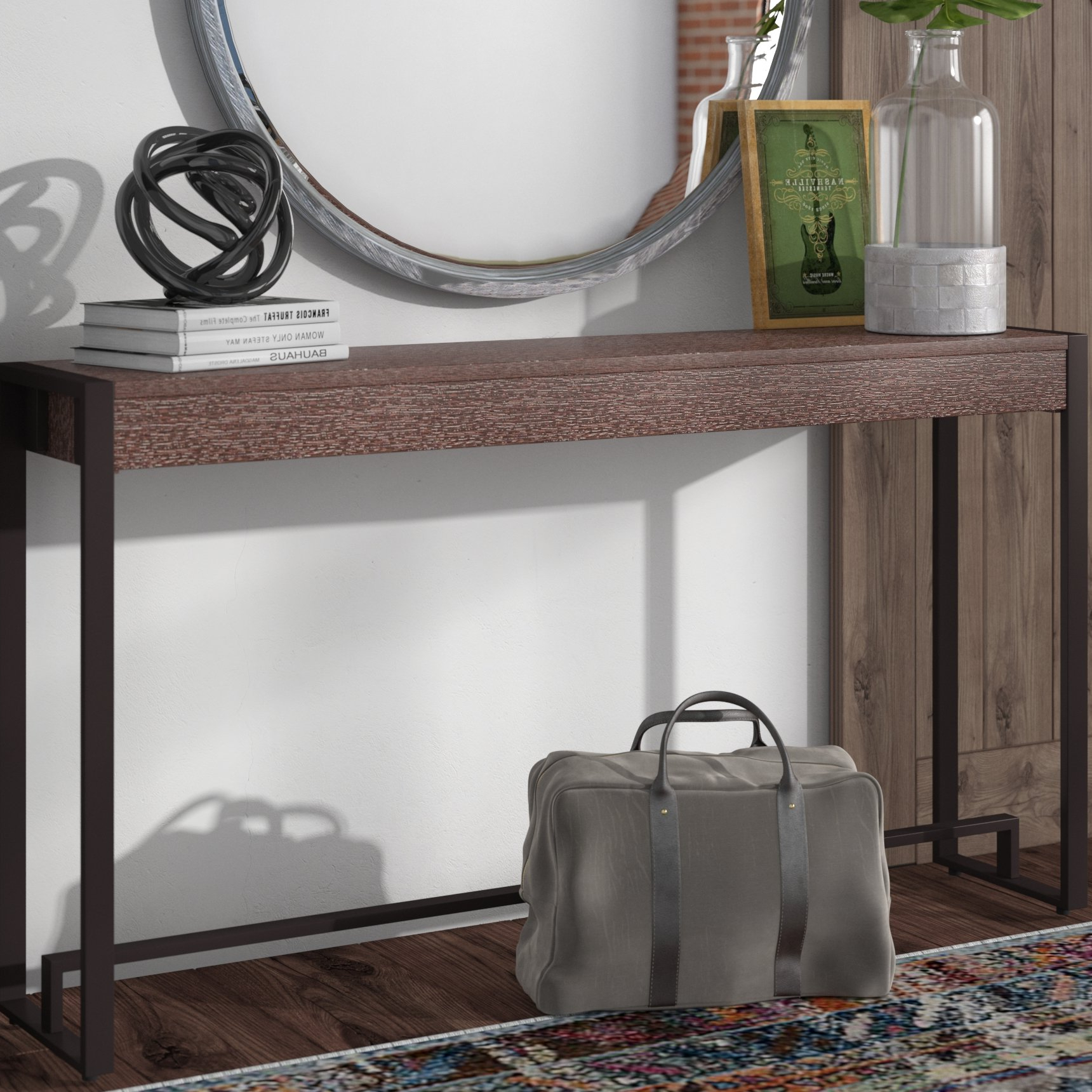 Industrial Console Tables You'll Love | Wayfair Within Parsons Clear Glass Top & Elm Base 48X16 Console Tables (View 12 of 20)