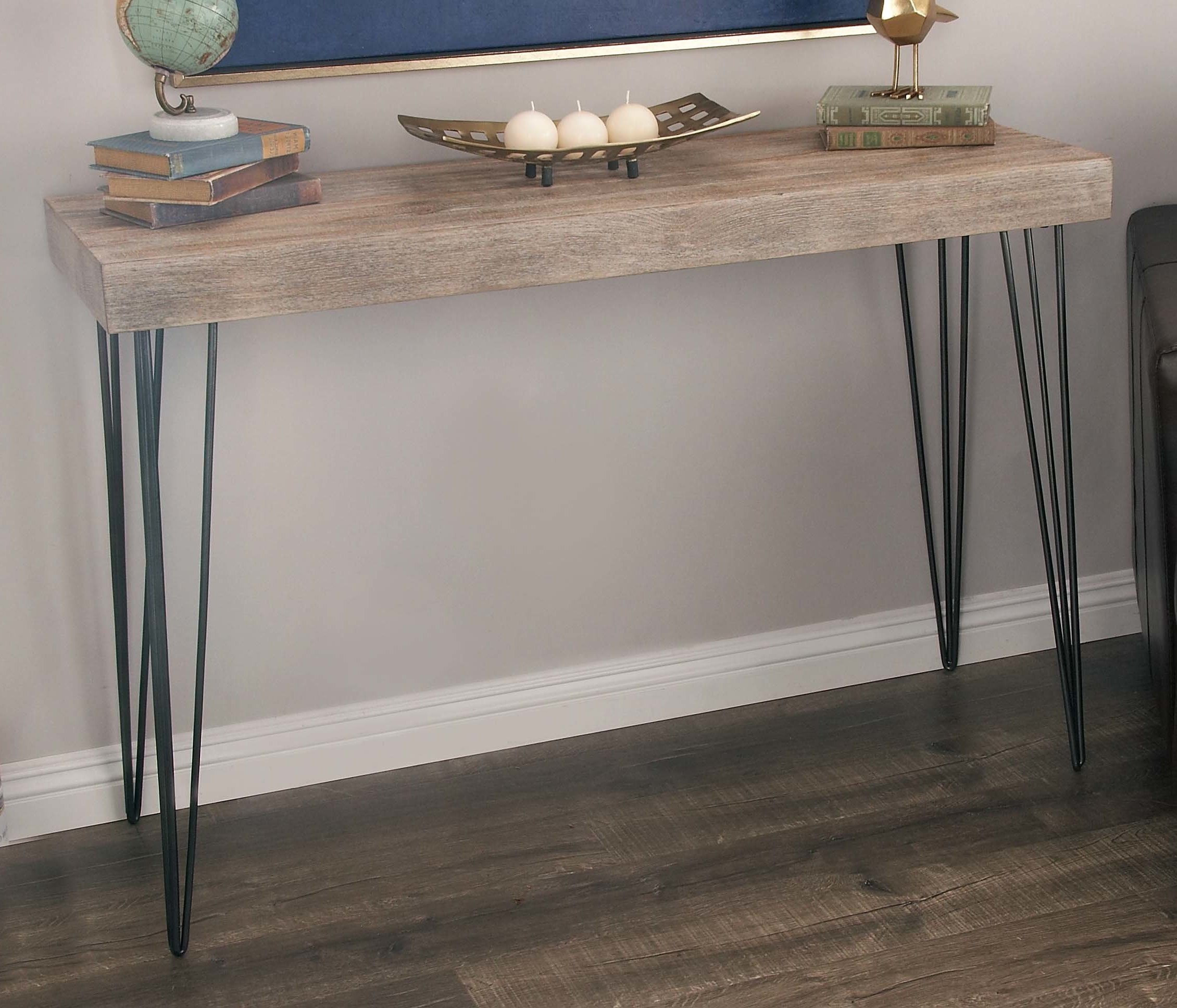 Industrial Console Tables You'll Love | Wayfair Within Parsons Clear Glass Top & Dark Steel Base 48x16 Console Tables (View 19 of 20)