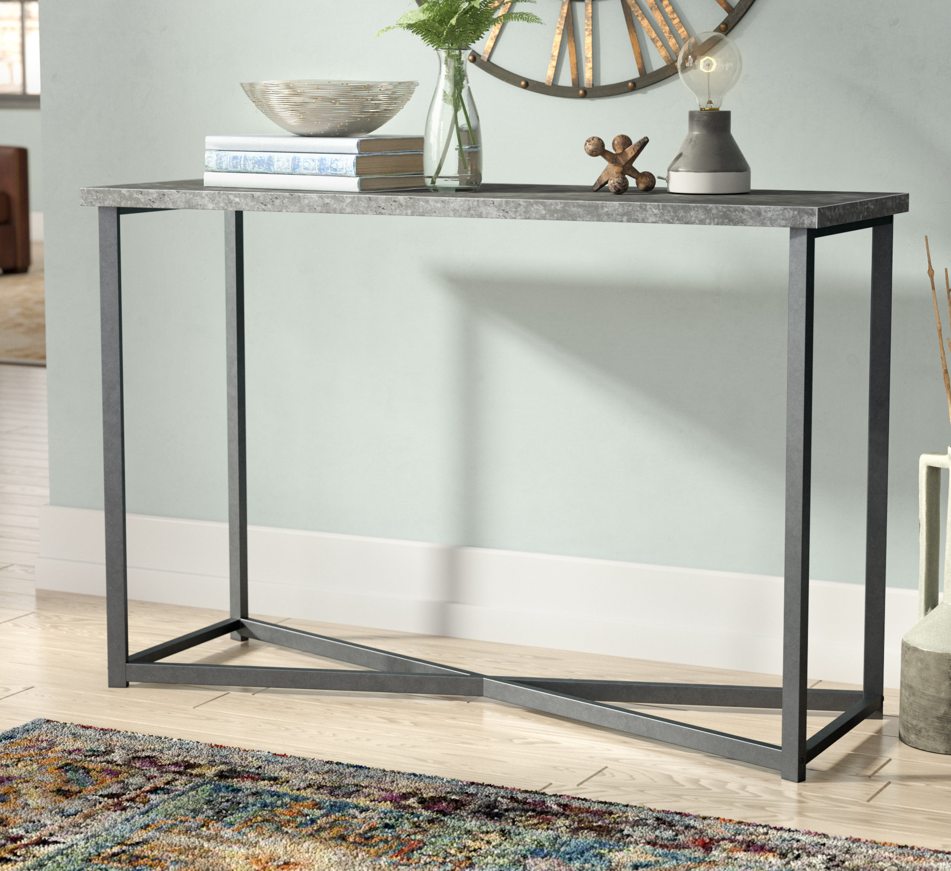 Industrial Console Tables You'll Love | Wayfair Within Parsons Grey Marble Top & Elm Base 48x16 Console Tables (View 4 of 20)