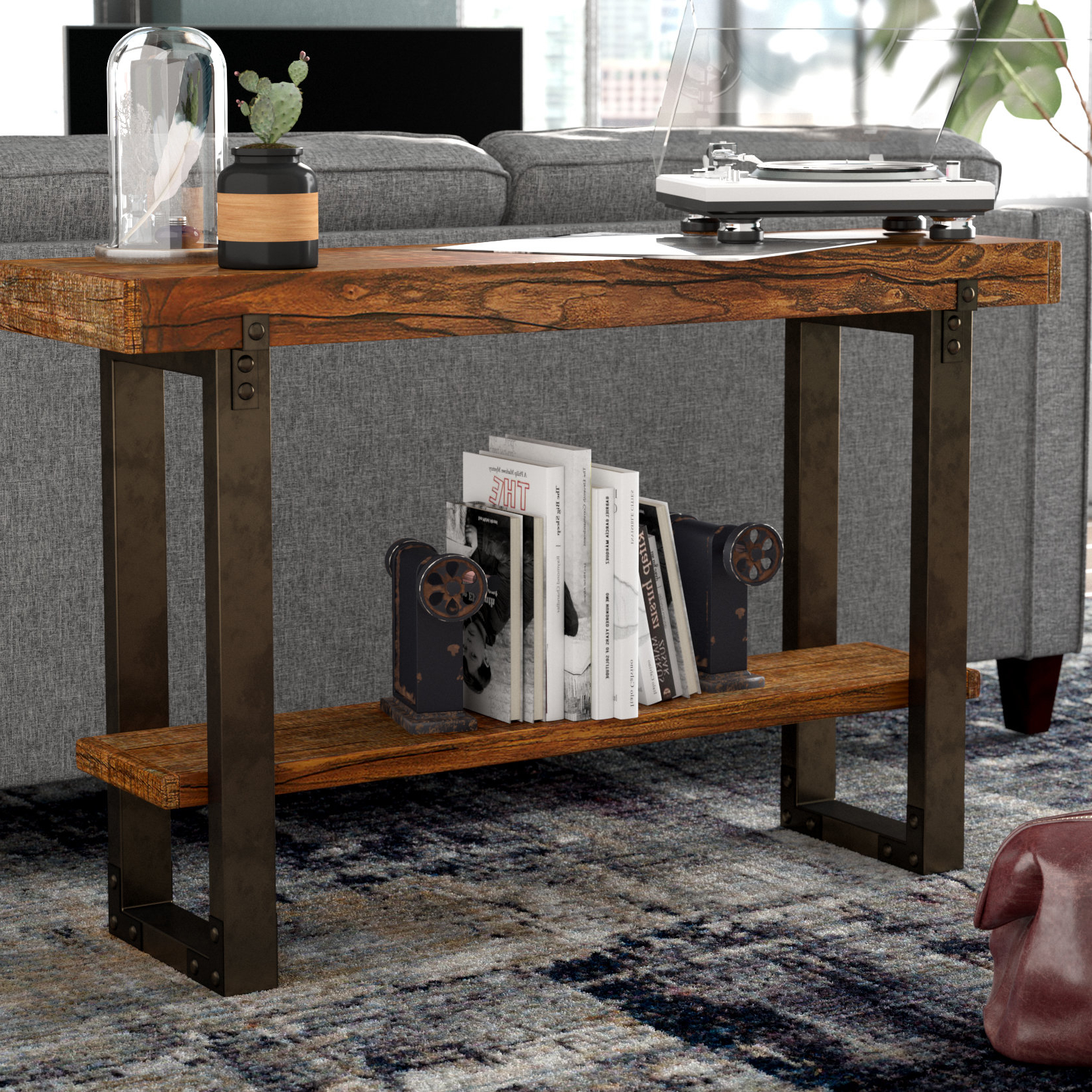 Industrial Console Tables You'll Love | Wayfair Within Parsons Grey Solid Surface Top & Elm Base 48x16 Console Tables (View 5 of 20)