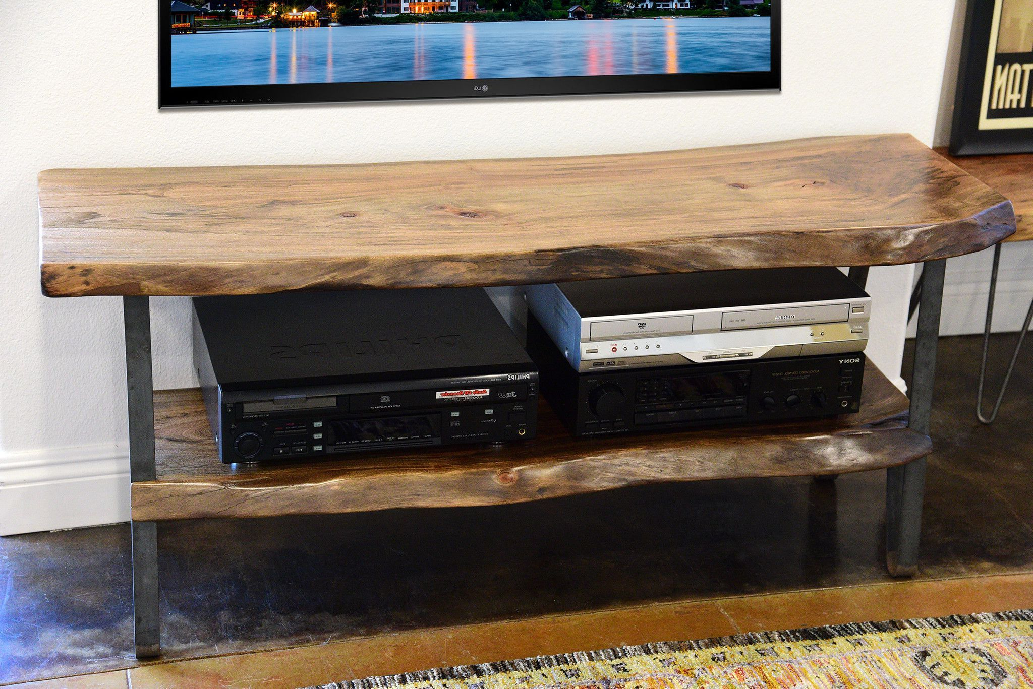 Industrial Modern Live Edge Slab Tv Stand | Tv Stand Diy & Ideas In In Cato 60 Inch Tv Stands (View 7 of 20)