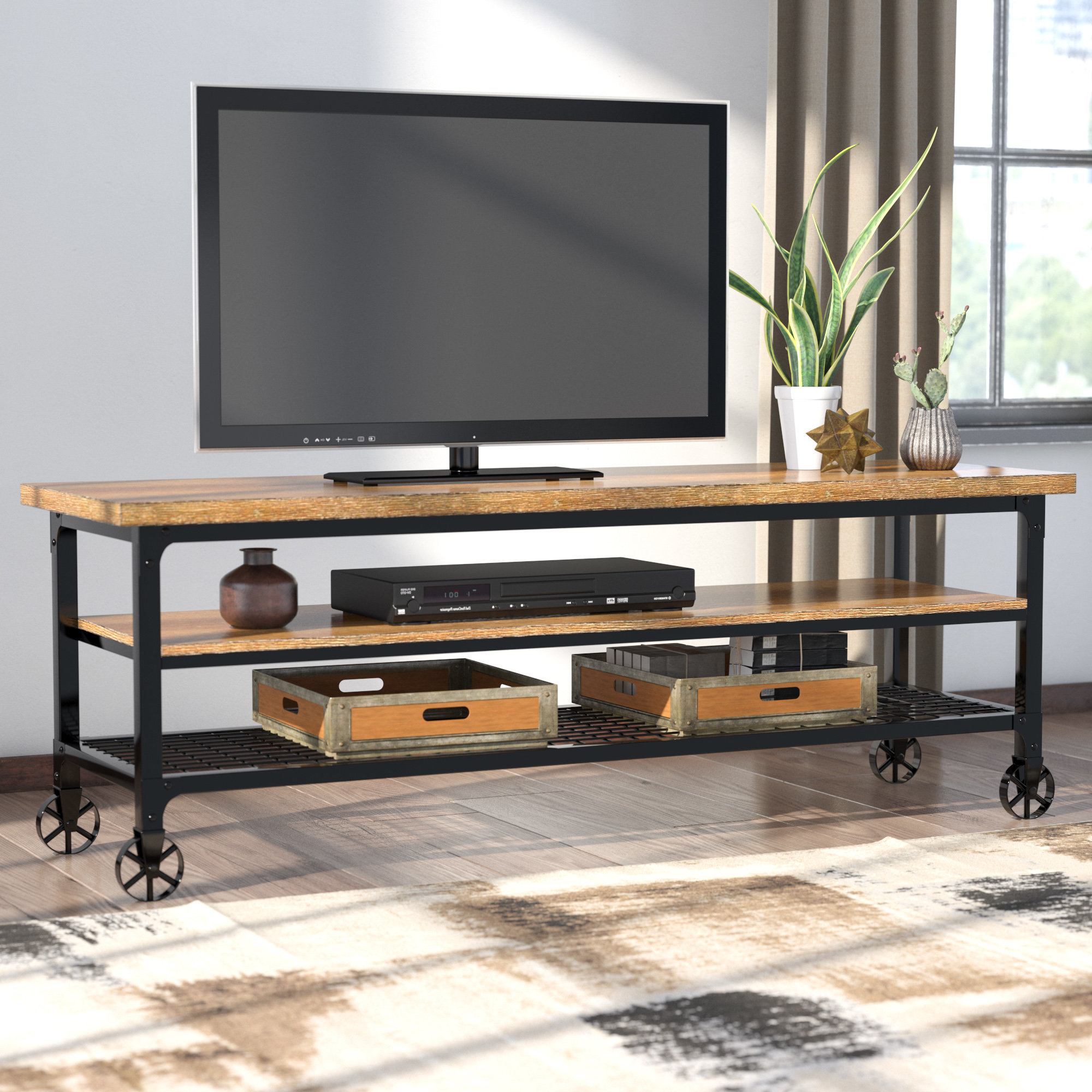 Industrial Tv Stands | Joss & Main Pertaining To Walton 74 Inch Open Tv Stands (View 10 of 20)
