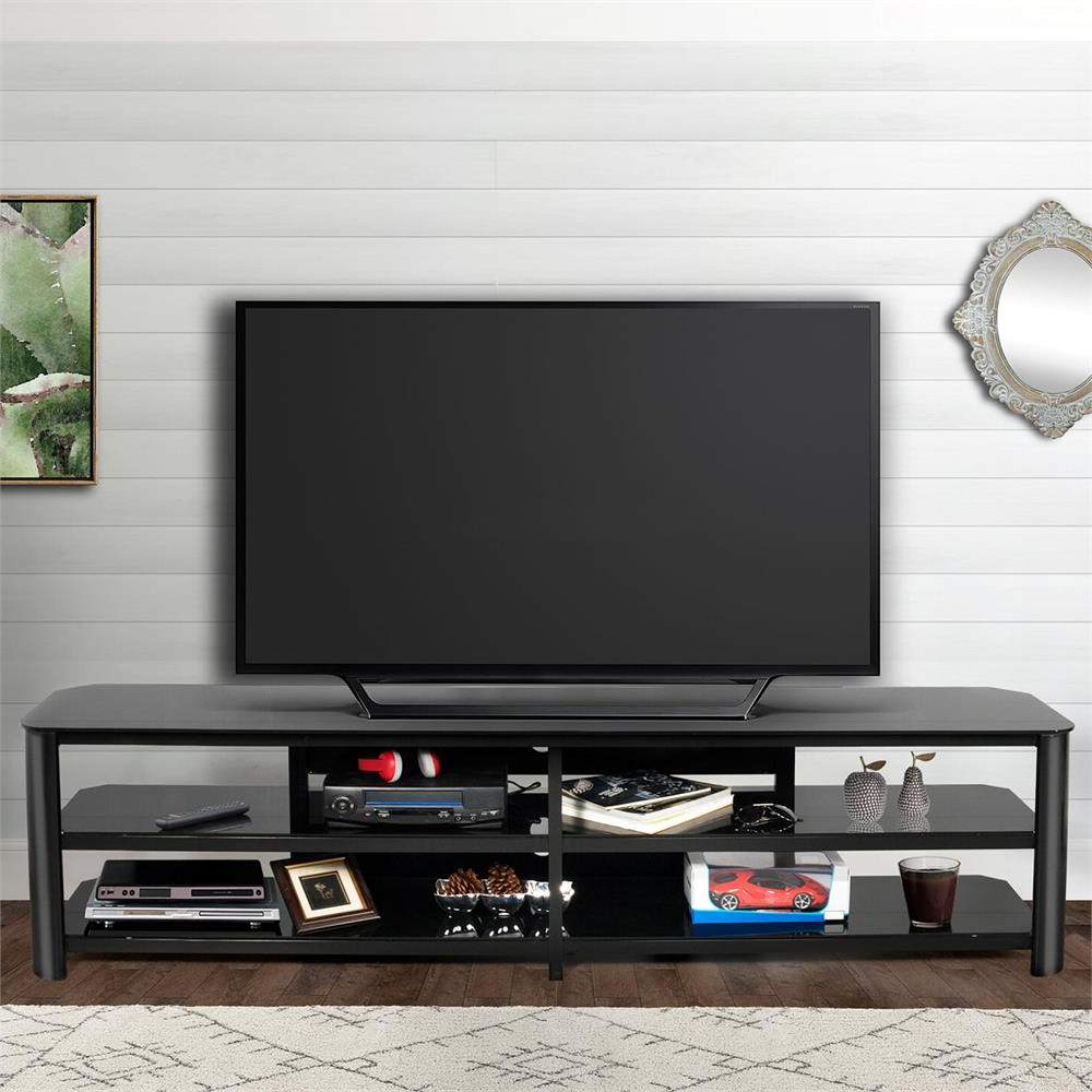 Innovex Oxford Series 82 Inch Flat Screen Tv Stand Black Glass Tpt83G29 In Oxford 70 Inch Tv Stands (View 9 of 20)