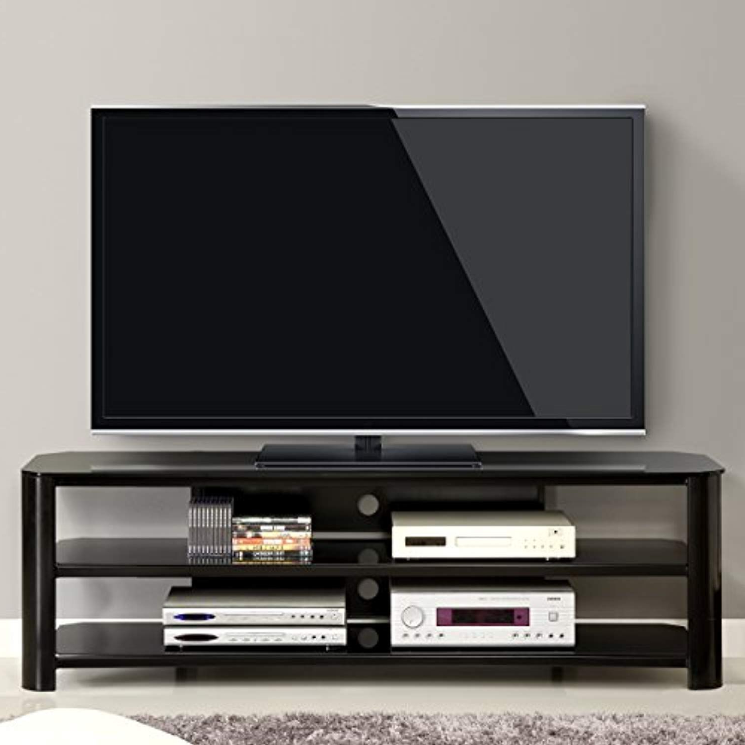 Innovex Tpt65G29 Oxford Fold N Snap 65€ Glass Tv Stand For Tvs Up With Regard To Oxford 70 Inch Tv Stands (View 10 of 20)