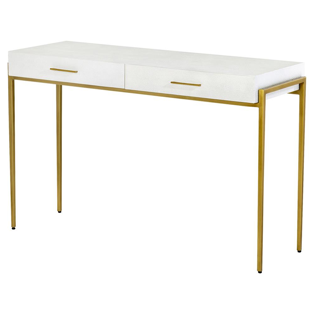 Interlude Morand White Faux Shagreen Antique Gold Leaf Metal Console Pertaining To Faux Shagreen Console Tables (View 20 of 20)