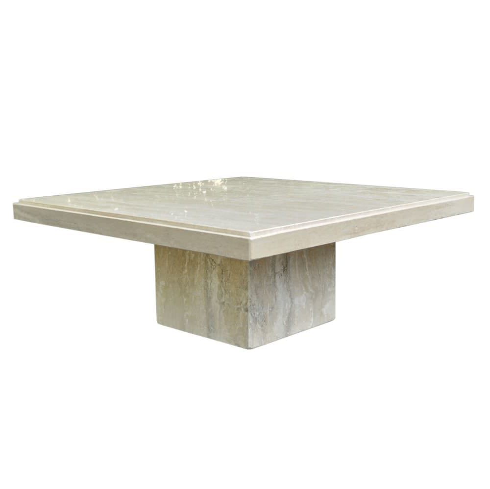 Italian Travertine Coffee Table Sushi Ichimura Decor Travertine Throughout Parsons Travertine Top & Brass Base 48x16 Console Tables (View 20 of 20)
