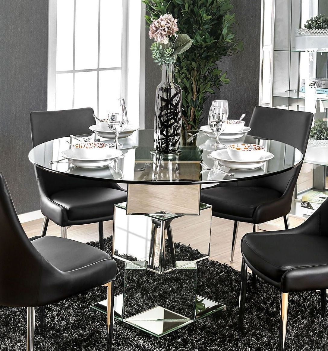 Izzy Silver Dining Table From Furniture Of America | Coleman Furniture Intended For Chari Media Center Tables (View 14 of 20)
