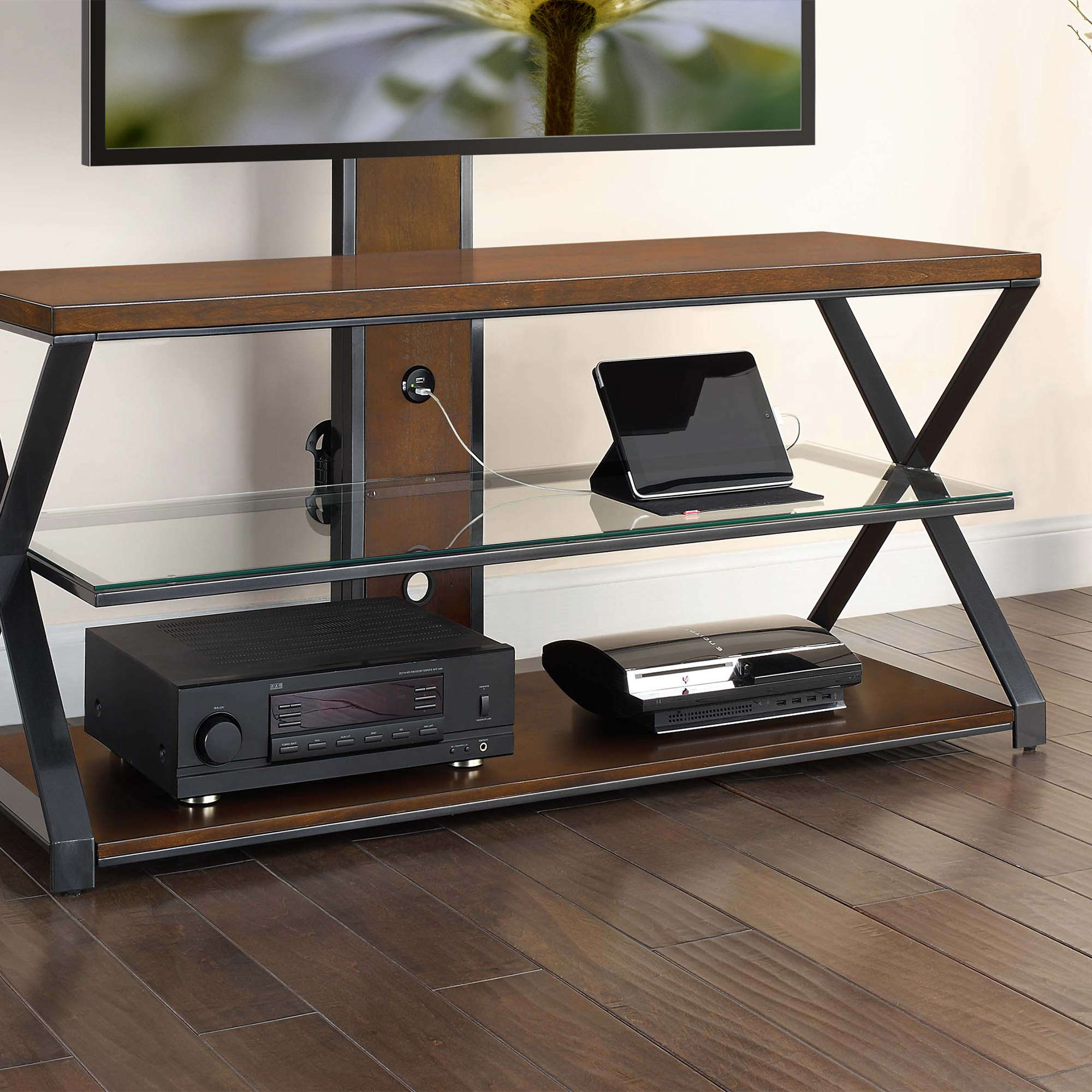 "Jaxon 3 In 1 Cognac Tv Stand For Tvs Up To 70"" – Walmart For Jaxon 71 Inch Tv Stands (View 5 of 20)"
