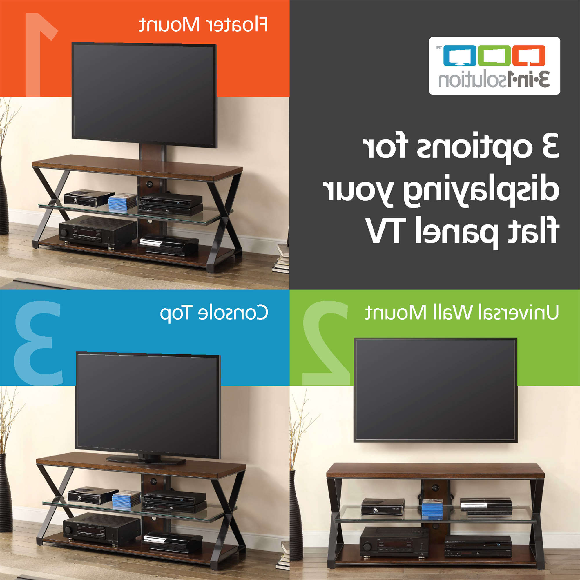 """Jaxon 3 In 1 Cognac Tv Stand For Tvs Up To 70"""" – Walmart For Jaxon 76 Inch Plasma Console Tables (View 10 of 20)"""