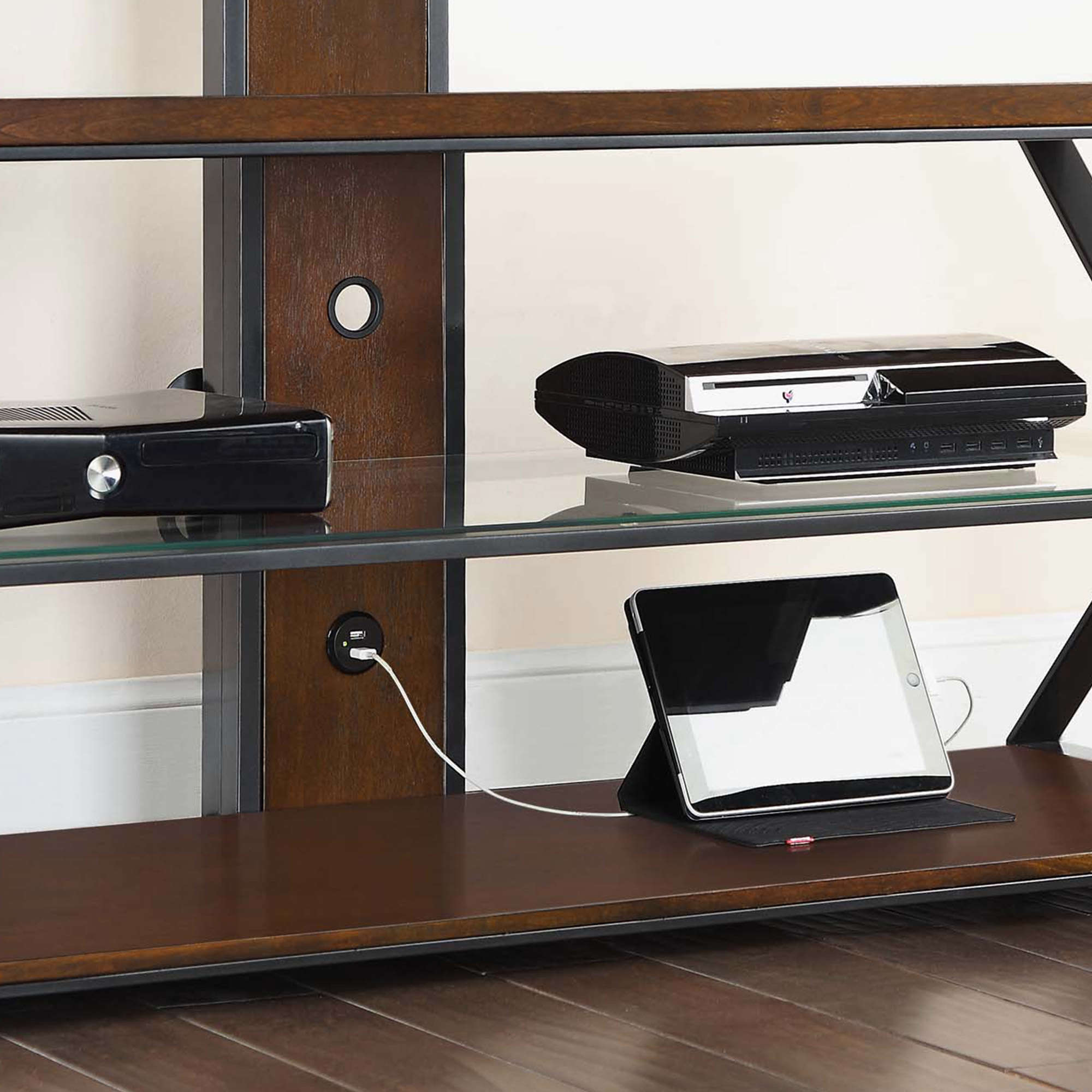"""Jaxon 3 In 1 Cognac Tv Stand For Tvs Up To 70"""" – Walmart For Jaxon 76 Inch Plasma Console Tables (Gallery 7 of 20)"""