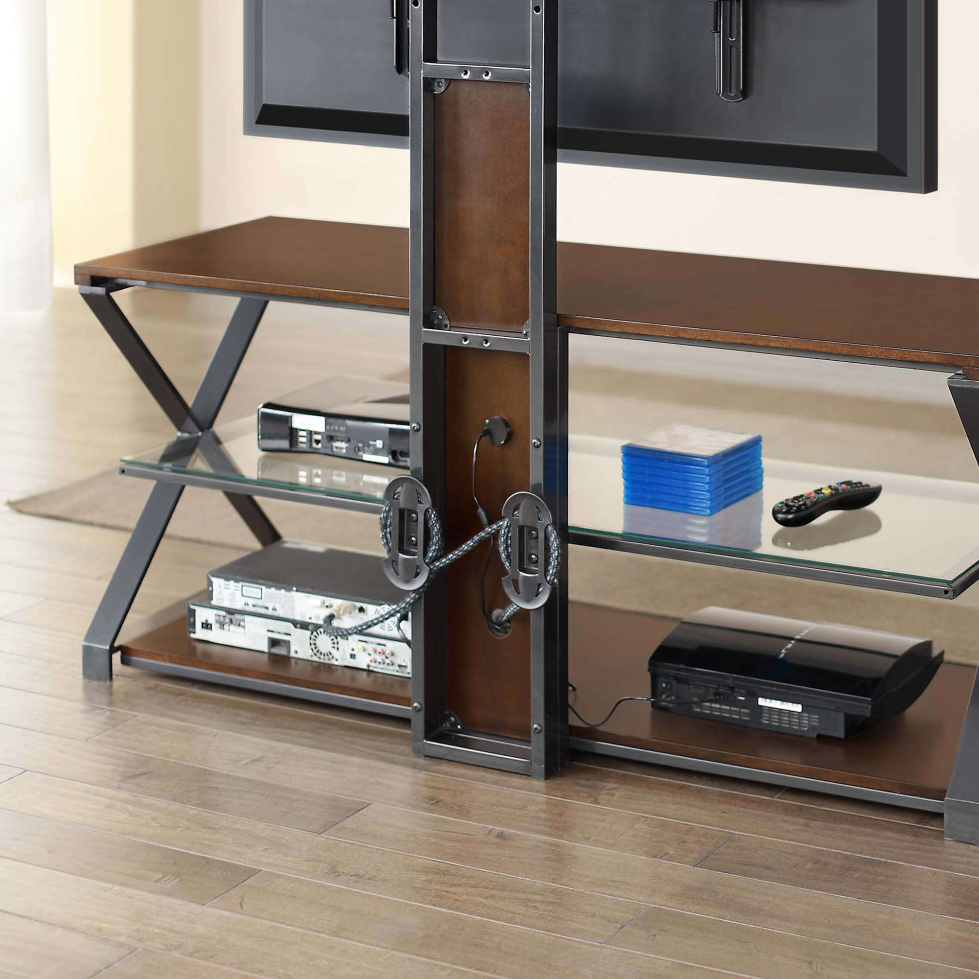 "Jaxon 3 In 1 Cognac Tv Stand For Tvs Up To 70"" – Walmart Pertaining To Jaxon 76 Inch Plasma Console Tables (Gallery 9 of 20)"