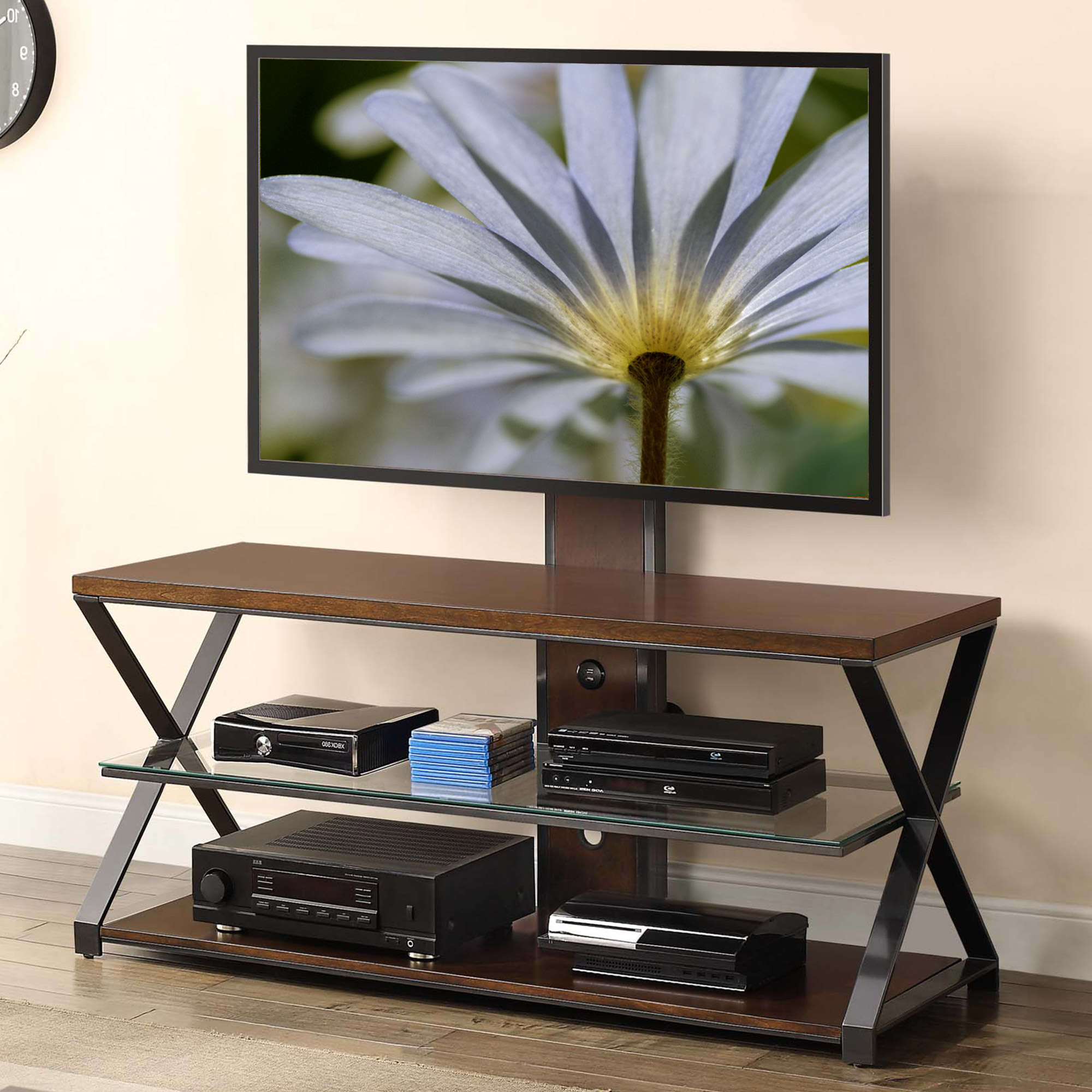 "Jaxon 3 In 1 Cognac Tv Stand For Tvs Up To 70"" – Walmart Throughout Jaxon 65 Inch Tv Stands (View 3 of 20)"
