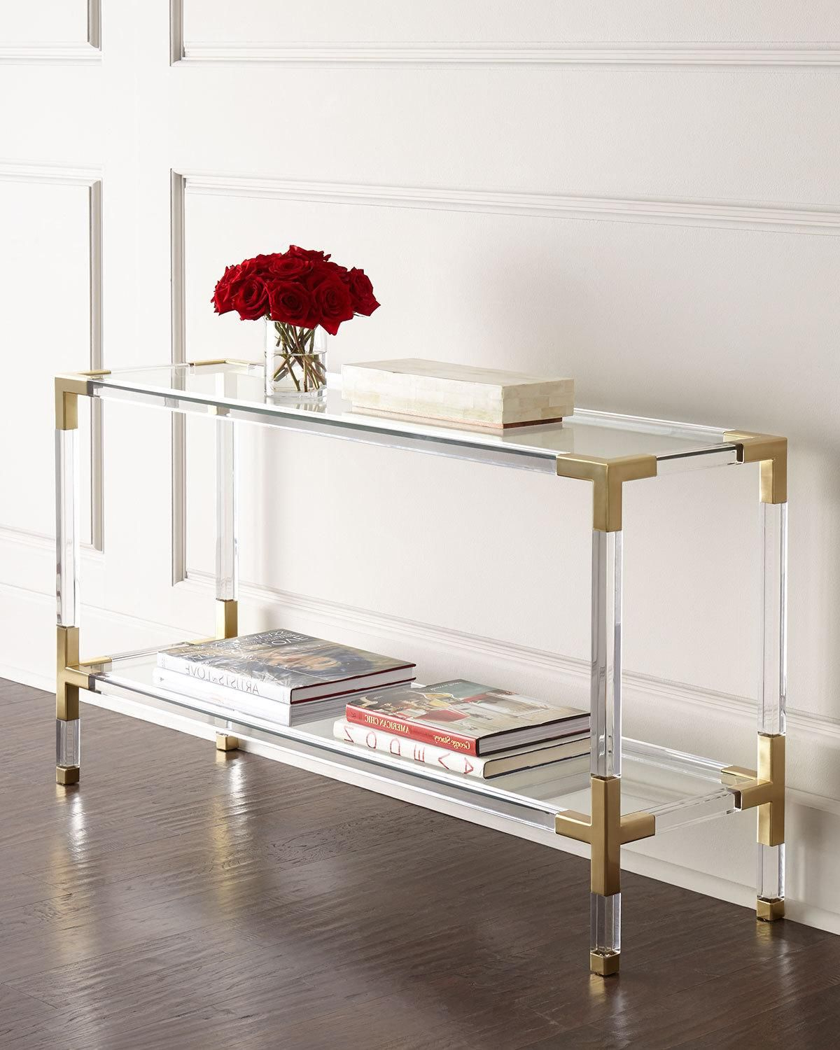 Jonathan Adler Jacques Lucite & Brass Console | Products | Console Inside Jacque Console Tables (View 12 of 20)