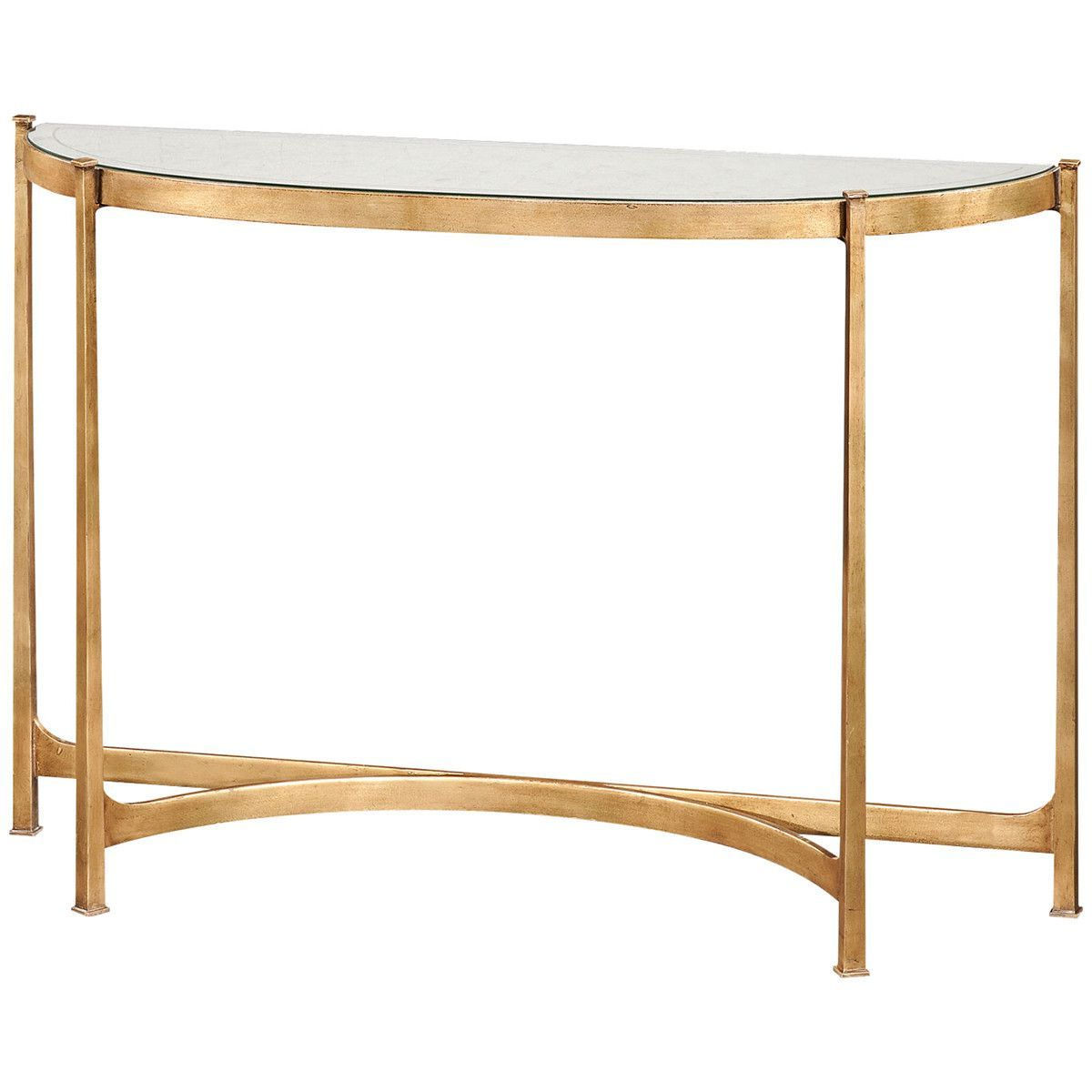 Jonathan Charles Eglomise And Iron Demilune Large Console | Console Intended For Elke Glass Console Tables With Brass Base (View 5 of 20)