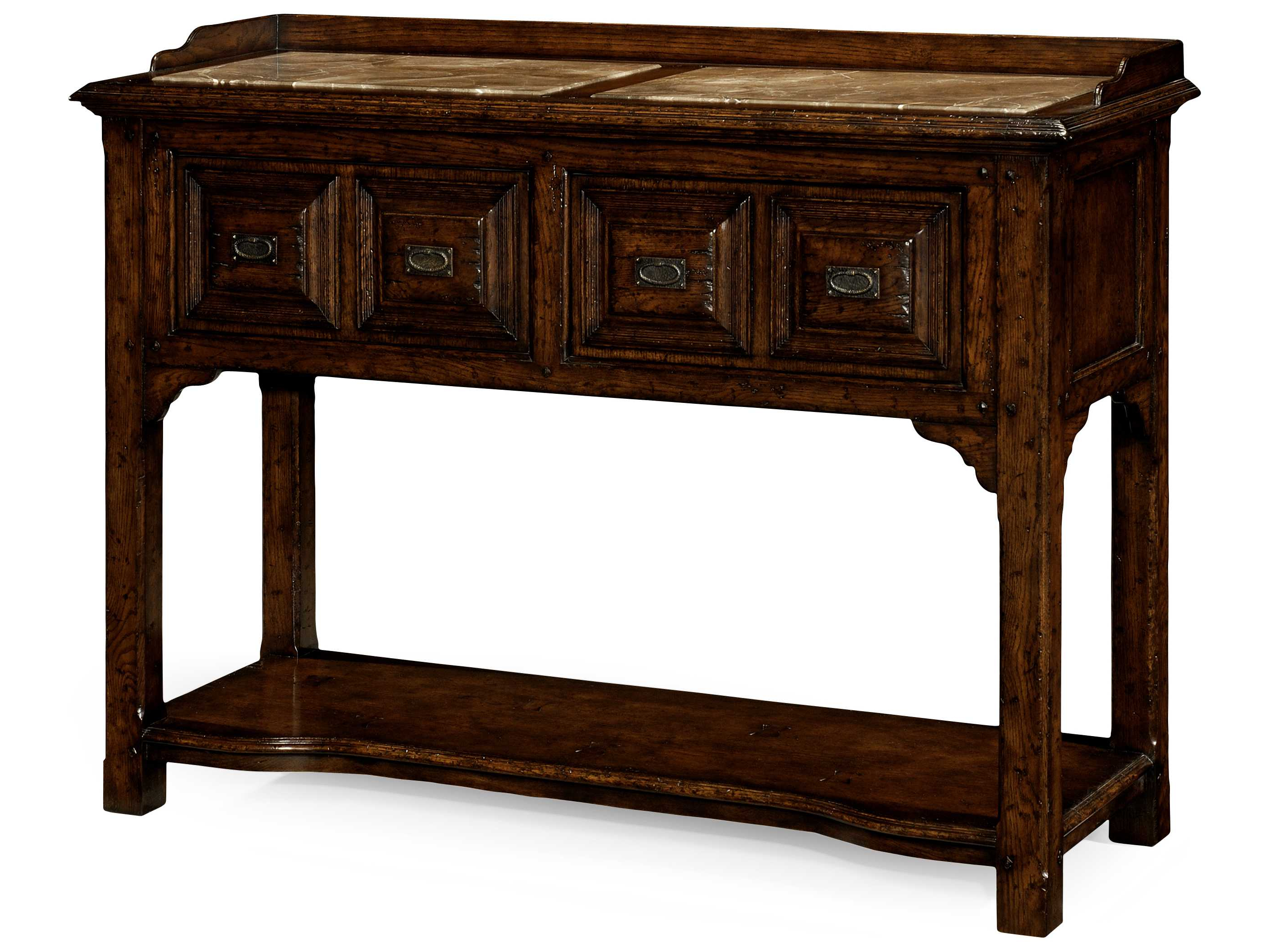 Jonathan Charles Tudor Oak Dark Brown Tudor Oak 54 X 20 Buffet In Balboa Carved Console Tables (Gallery 14 of 20)