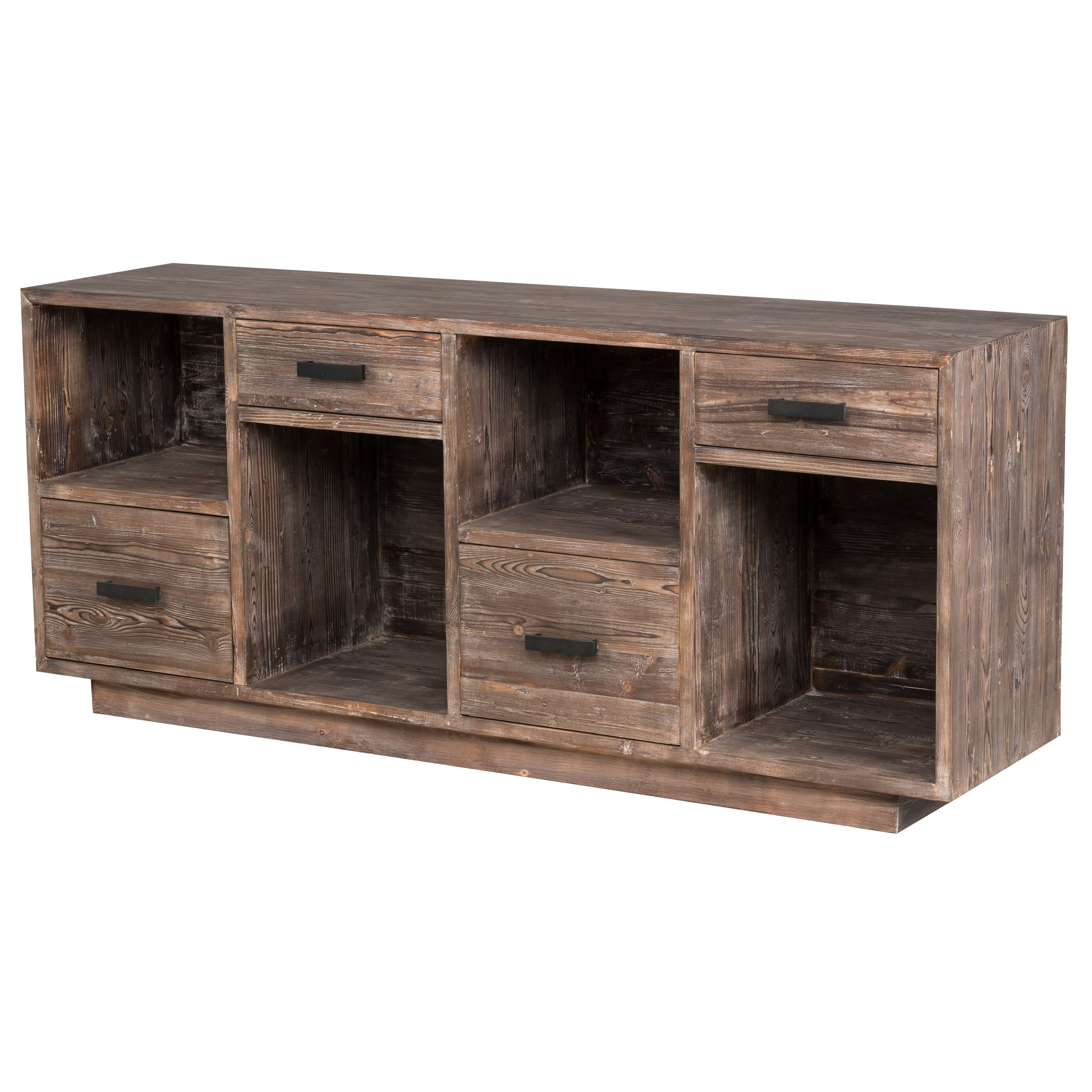 Kosas Home Garrett 4 Drawer Rustic Mahogany Reclaimed Pine Sideboard With Regard To Sinclair Grey 68 Inch Tv Stands (View 8 of 20)